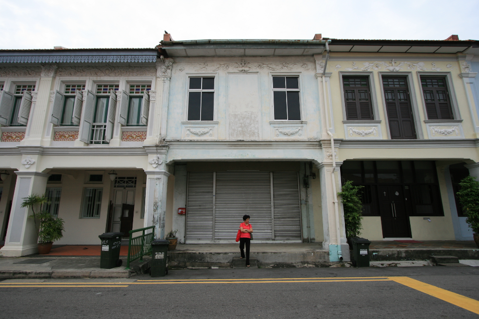 Before restoration: a reminder of what the shophouse used to be after Lucky Bookstore closed.