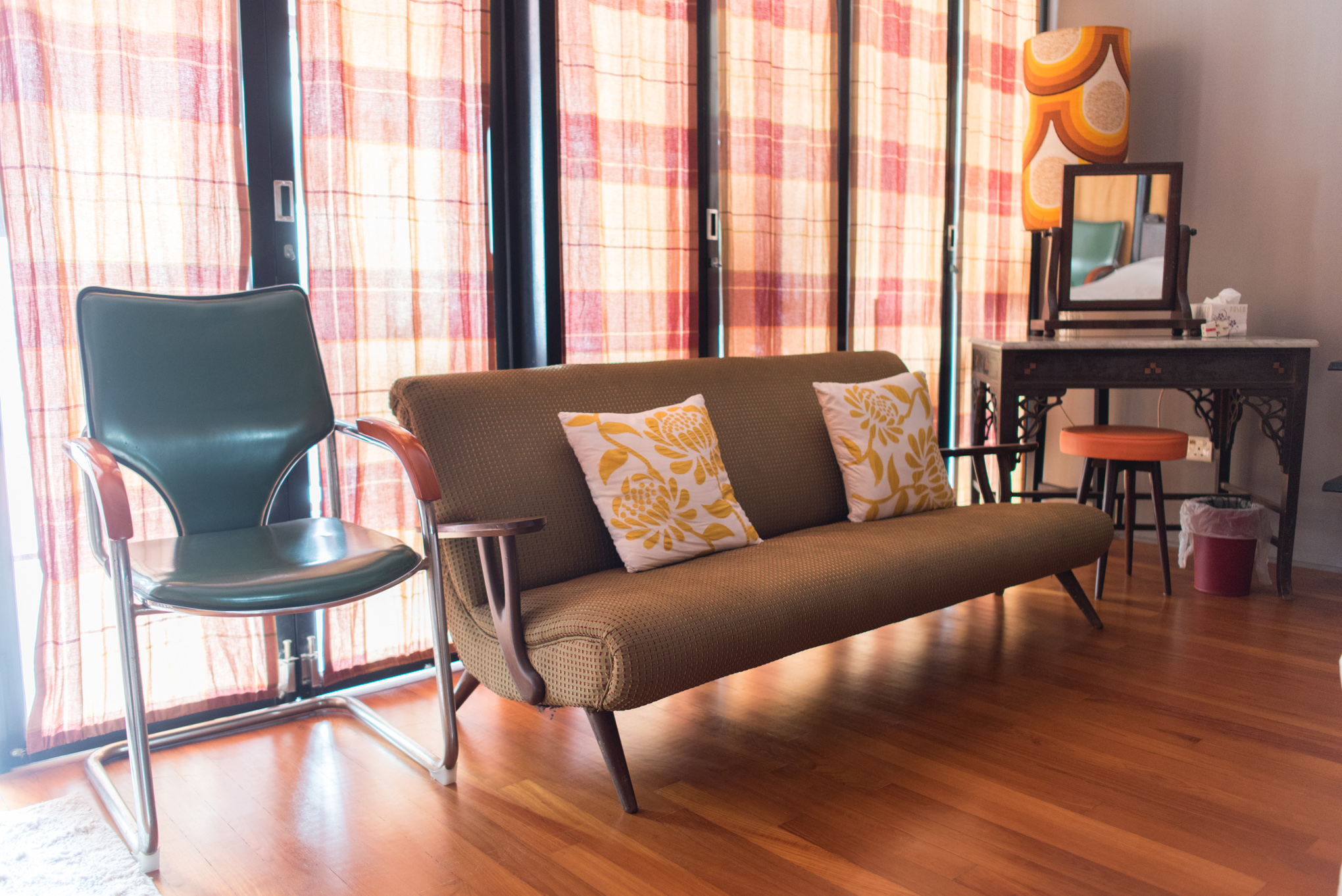 Pictured above: Original solid wood 1970s vintage furniture. Kheng Hua adopted these from her grandmother, and had them stylishly reupholstered.