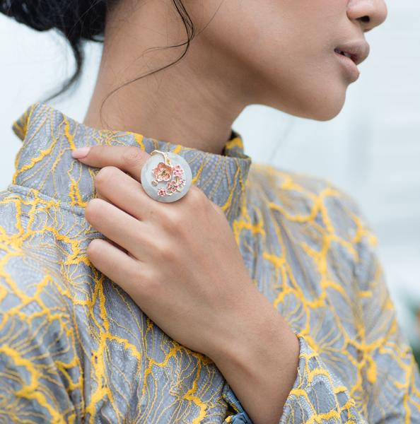 The  Cherry Blossom Branch Ring with a designer kurung by  Petra