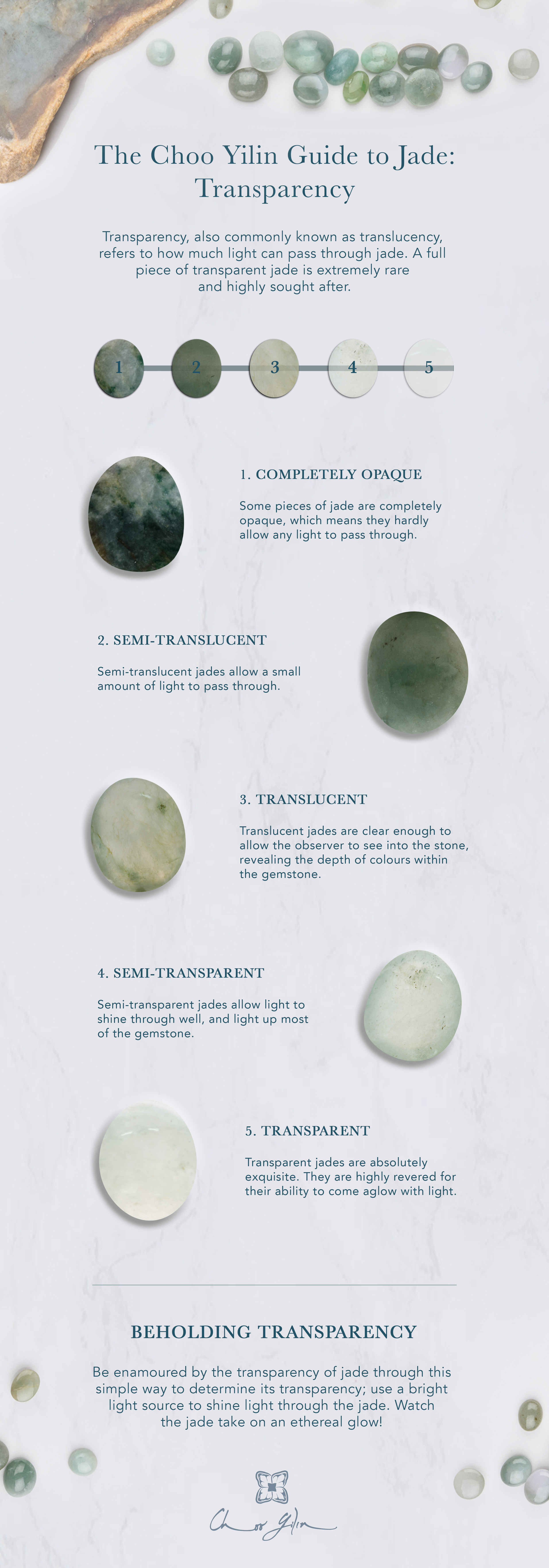 The Choo Yilin Guide to Jade:Transparency Transparency, also commonly known as translucency, refers to how much light can pass through jade. A full piece of transparent jade is extremely rare and highly sought after.1. COMPLETELY OPAQUE Some pieces of jade are completely opaque, which means they hardly allow any light to pass through.2. SEMI-TRANSLUCENT Semi-translucent jades allow a small amount of light to pass through.3. TRANSLUCENT Translucent jades are clear enough to allow the observer to see into the stone, revealing the depth of colours within the gemstone.4. SEMI-TRANSPARENT Semi-transparent jades allow light to shine through well, and light up most of the gemstone.5. TRANSPARENT Transparent jades are absolutely exquisite. They are highly revered for their ability to come aglow with light.BEHOLDING TRANSPARENCY Be enamoured by the transparency of jade through this simple way to determine its transparency; use a bright light source to shine light through the jade. Watch the jade take on an ethereal glow!