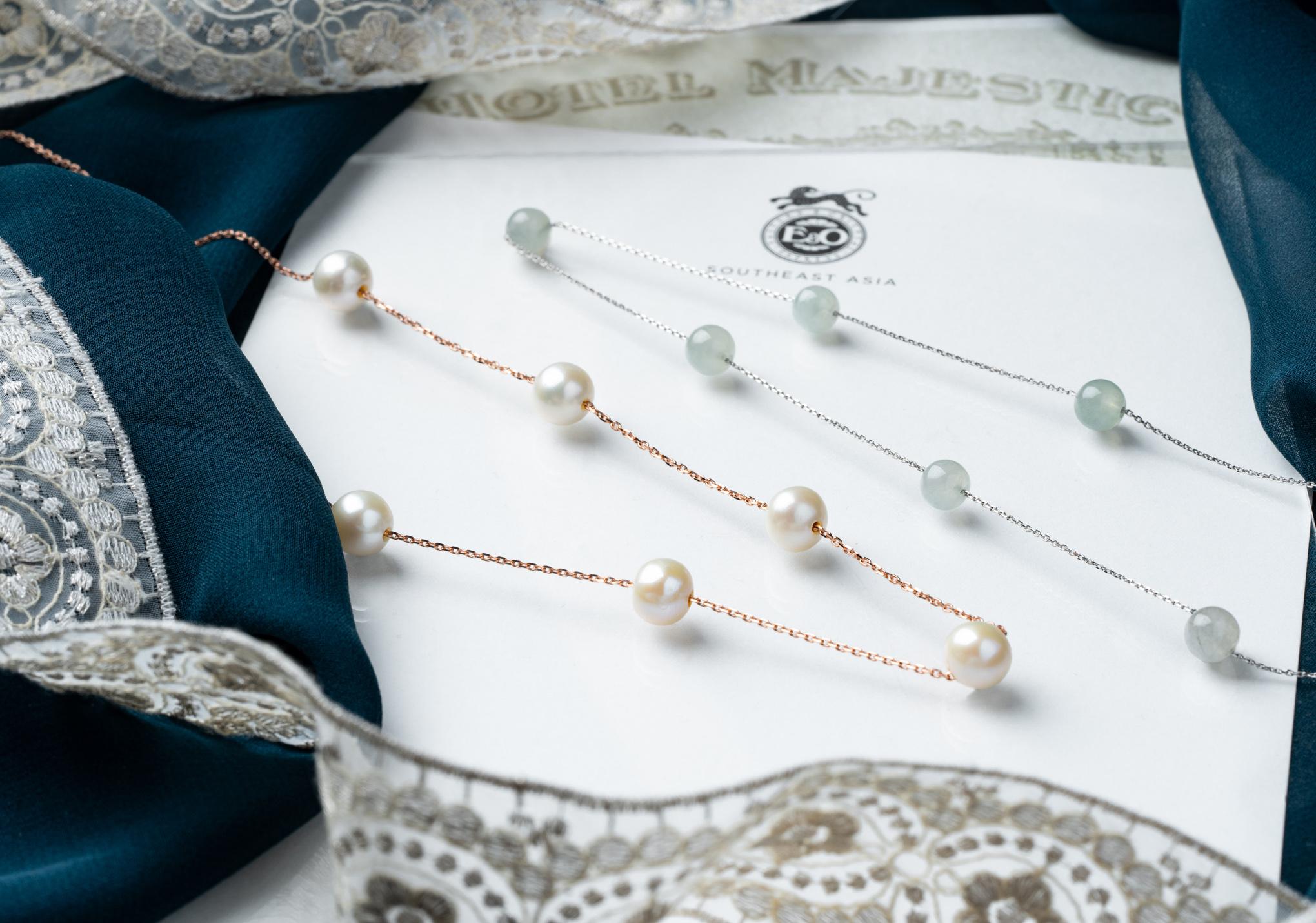 The Choo Yilin Vintage Honeymoon Pearl and Jade Sautoir Necklaces.