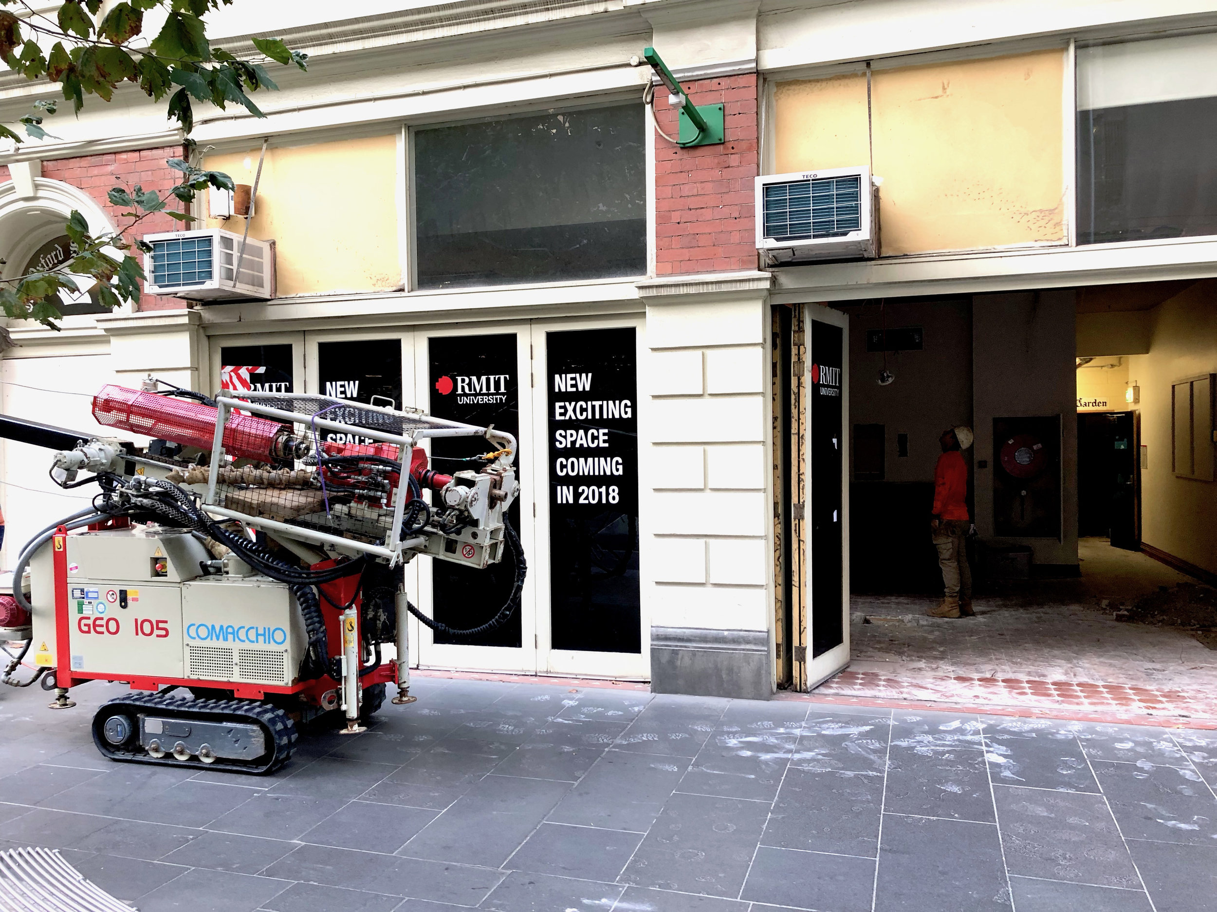 OXFORD SCHOLAR HOTEL (RMIT) - Rock Solid Earth carried out the geotechnical investigation within the Oxford Scholar Hotel (RMIT). This include mobilising a tight access drilling rig via Swanston St and drilling through old fill/rubble to provide recommendations on the new refurbishment.