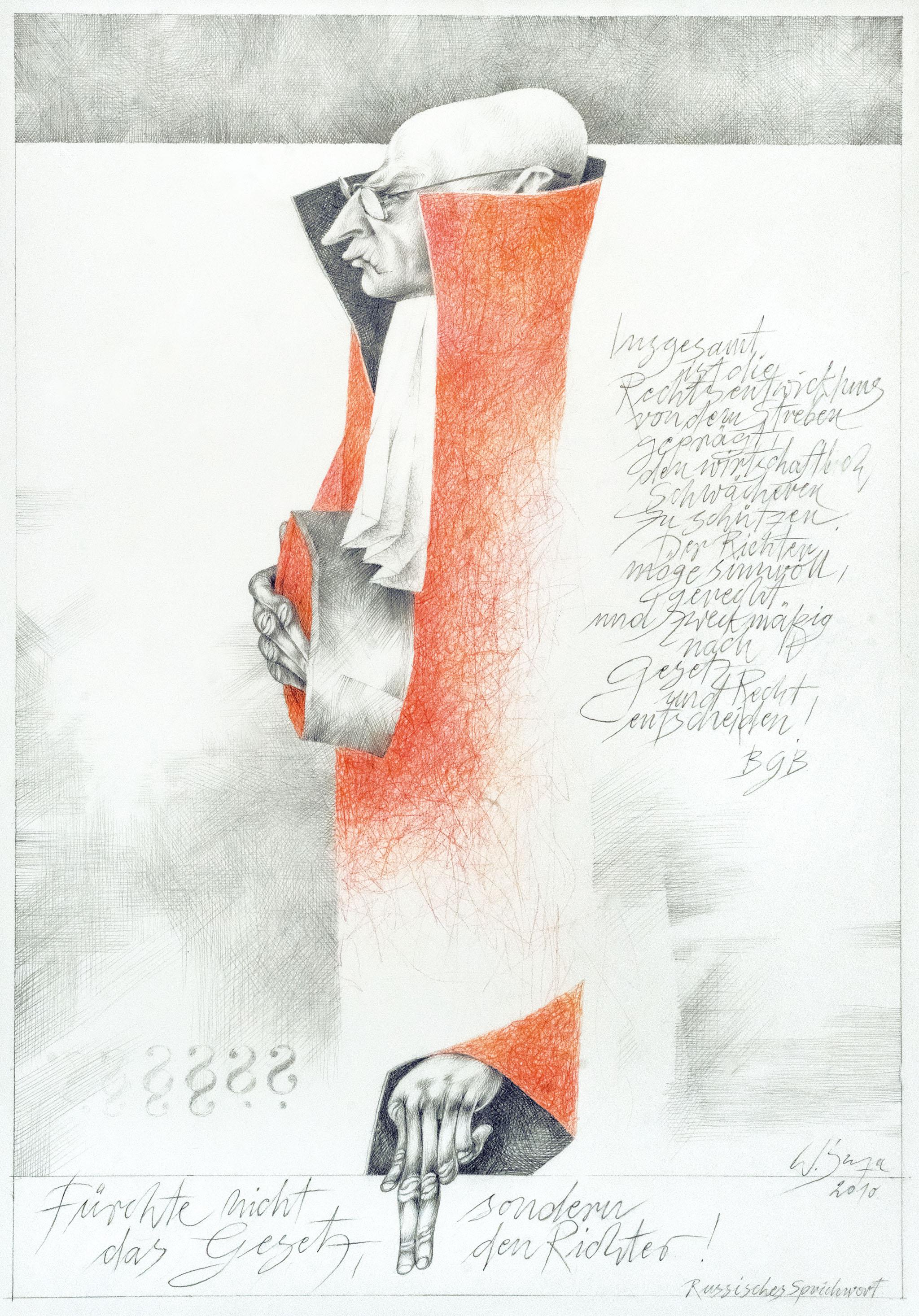 """Werner Juza, """"Der, der Recht sprechen sollte"""", 2010; Bleistift und Buntstift auf Papier, 41,5 x 58,5 cm Film- und Fotoaufnahmen zur Ausstellung: René Plaul, Foto © ORLA e.V."""