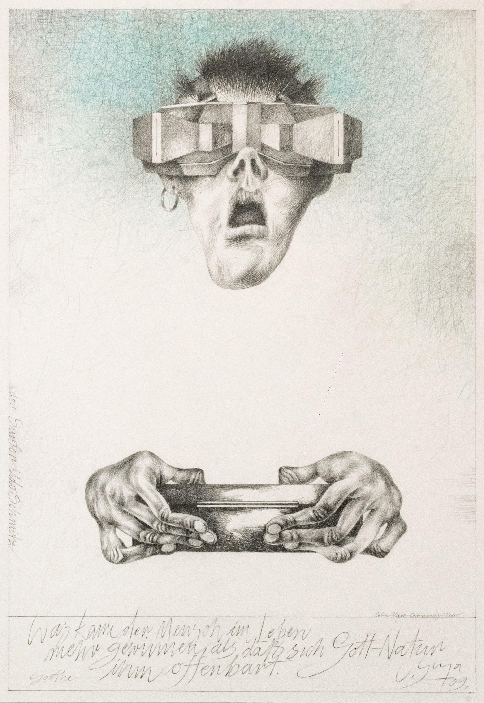 """Werner Juza, """"Der Surfer Udo Schmitz"""", 2009; Bleistift und Buntstift auf Papier, 55 x 38 cm Film- und Fotoaufnahmen zur Ausstellung: René Plaul, Foto © ORLA e.V."""