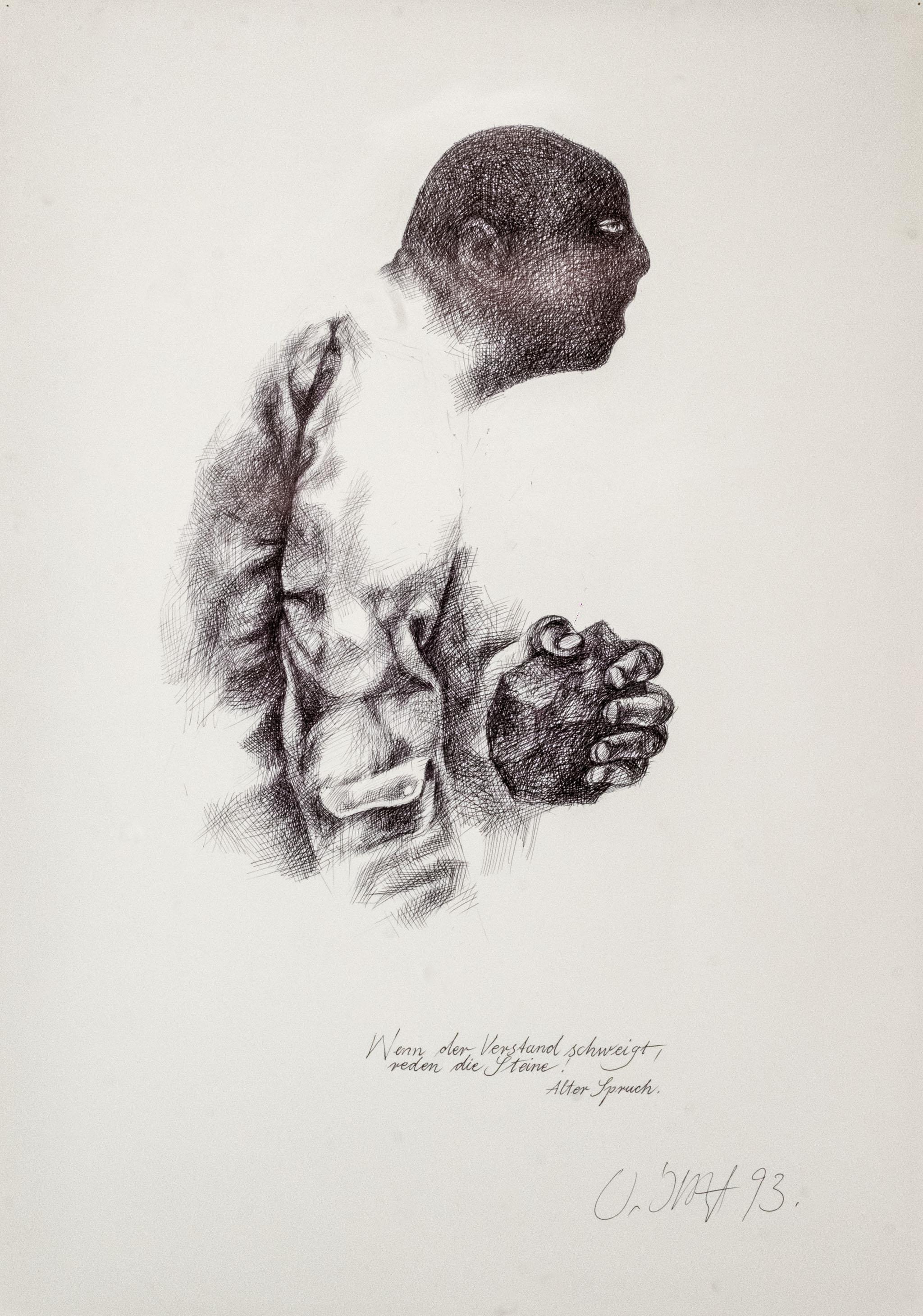 """Werner Juza, """"Wenn der Verstand schweigt"""", 1993; Kugelschreiber auf Papier, 43 x 60,7 cm Film- und Fotoaufnahmen zur Ausstellung: René Plaul, Foto © ORLA e.V."""