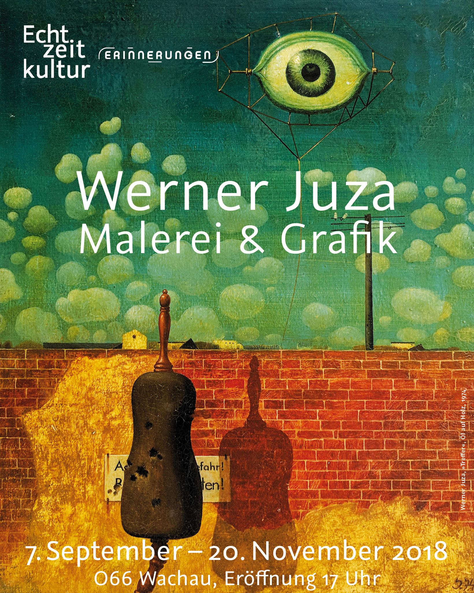 "Werner Juza: ""Treffer"", Öl auf Holz, 1974;  Plakatgestaltung: Kommunikationskontor Düsseldorf 2018"