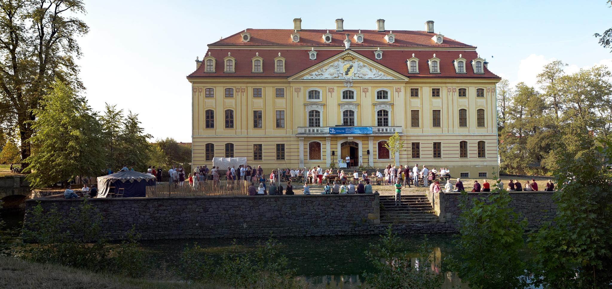 Barockschloss Wachau  vor der Ausstellungs- und Festeröffnung am 17. August 2018. Foto: Matthias Schumann © ORLA e.V.