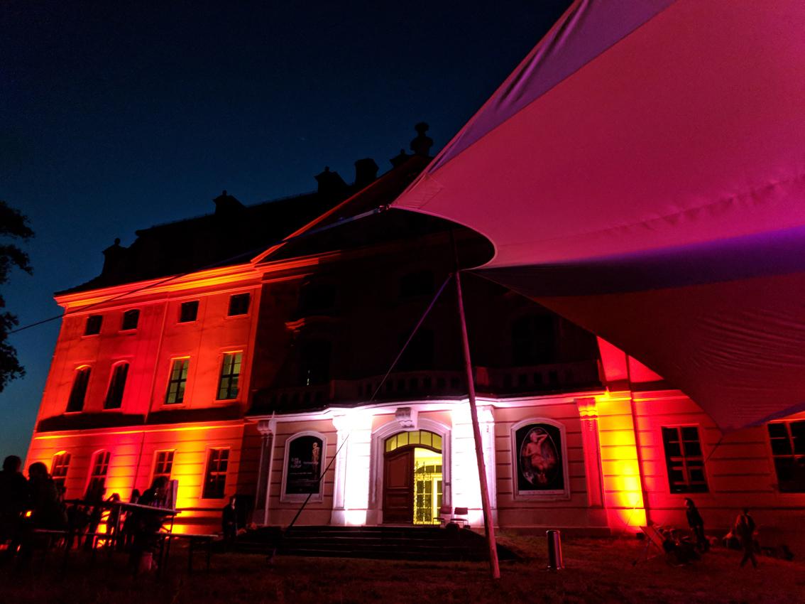 Eröffnungsabend. Barockschloss Wachau illuminiert by PARKEN Crew Leipzig am 25. Mai 2019 . Foto(c)ORLA e.V.