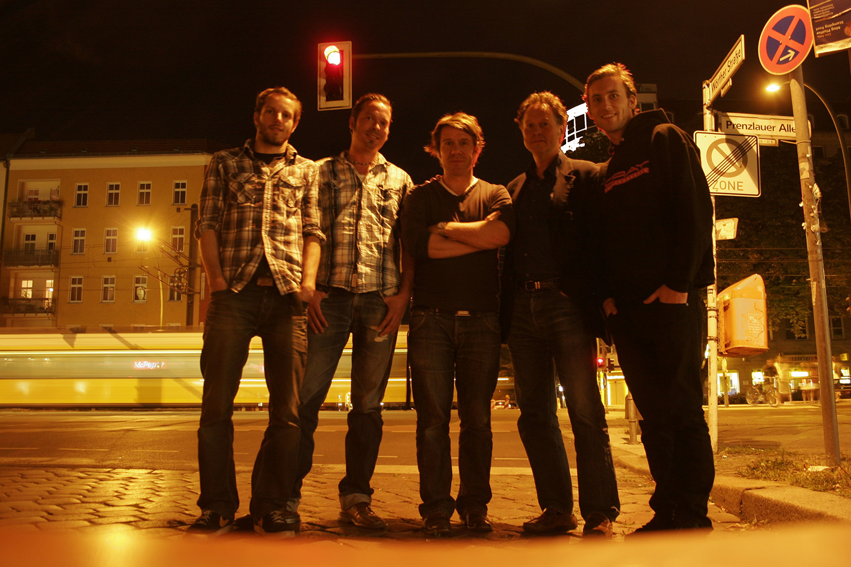 The crew (L to R) MARKUS STEMLER sound design, HAGEN HINKELMANN editor, JACK RATH director & camera, NICK JAFFE protagonist & camera,  GUNTER HANFGARN producer