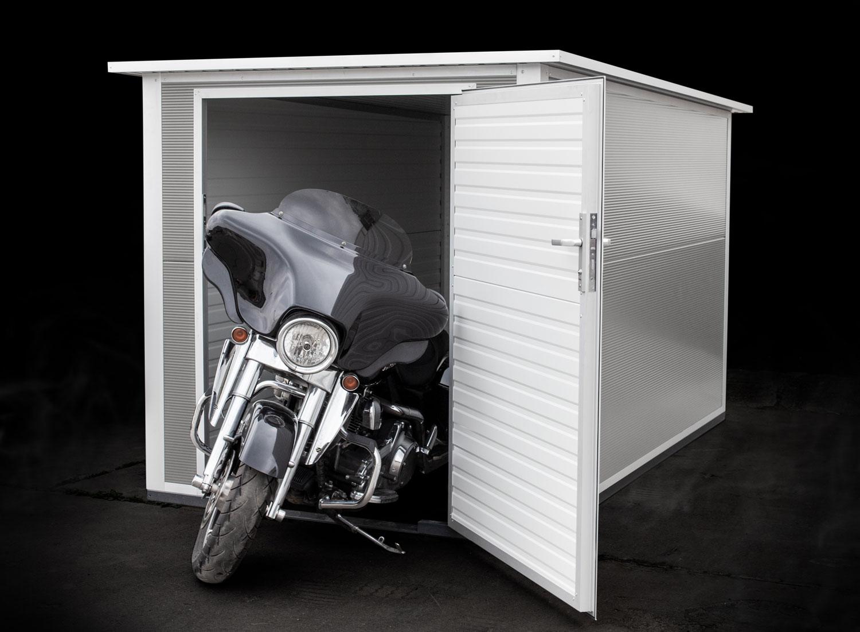 Box für 1 Motorrad - Korpus: 2,00 m x 3,20 m x 1,90 mTür: 1,30 m x 1,80 mAb 4.499,00 €
