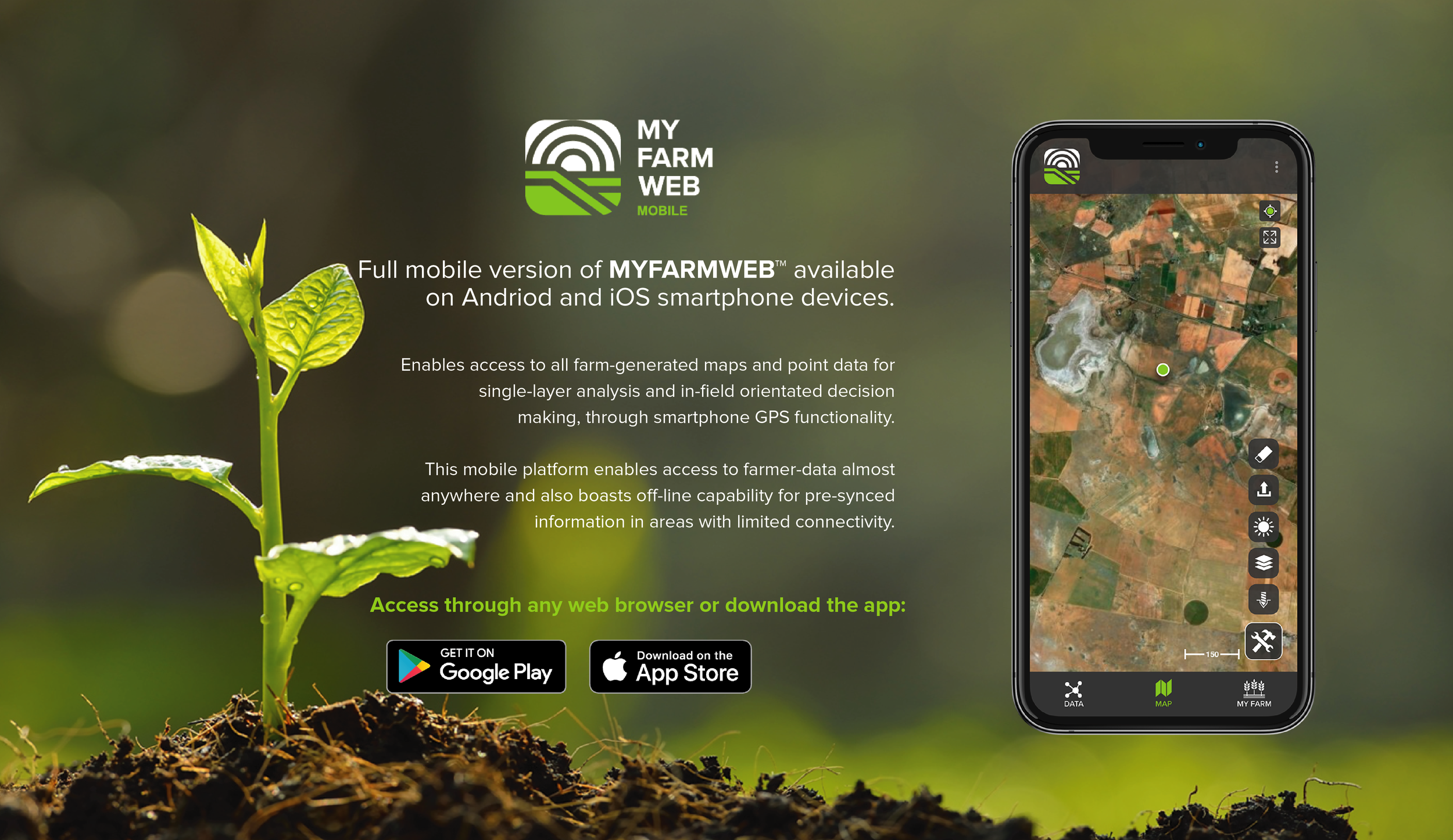 MYFARMWEB™ - MYFARMWEB™ is an interactive cloud based platform accessed through any browser for storing, visualizing and comparing multiple types of data relevant to a particular farm.