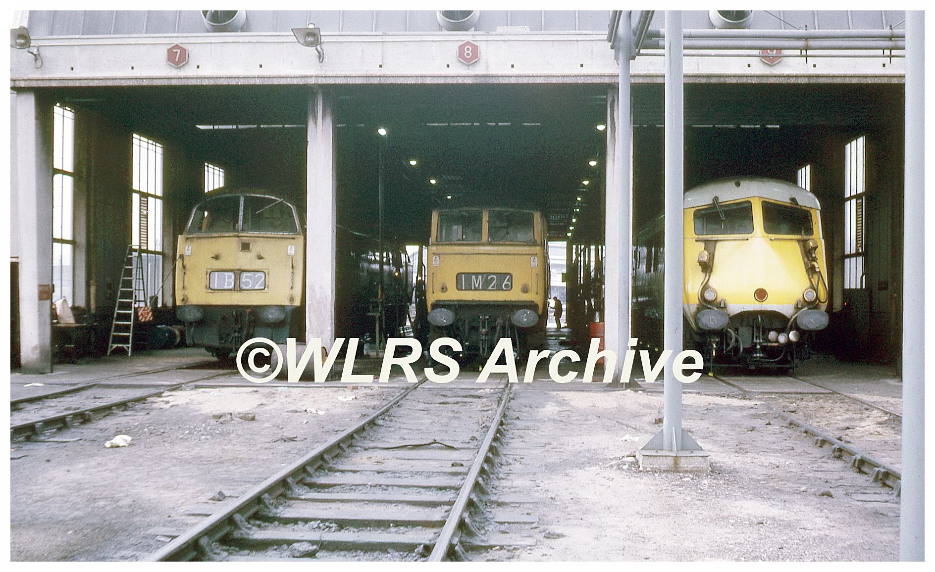 What a line-up! A Western, almost certainly D1012 Western Firebrand, a Hymek Class 35 and a WR Pullman sit at Old Oak Common in the running shed at the now long gone London depot. Photograph and copyright: A. Curtis Collection/WLRS Archive