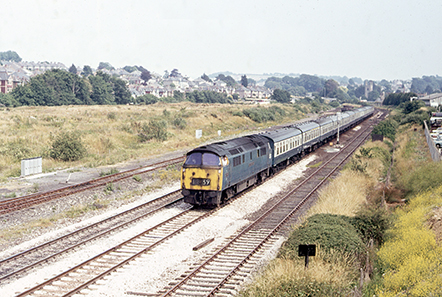 D1041 on July 5, 1975 at Plympton with the 10.56 Paddington-Penzance service. Photo: © Adrian Curtis
