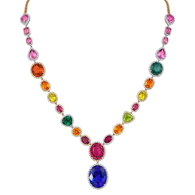 18ct White Gold Necklace with Precious Gemstones