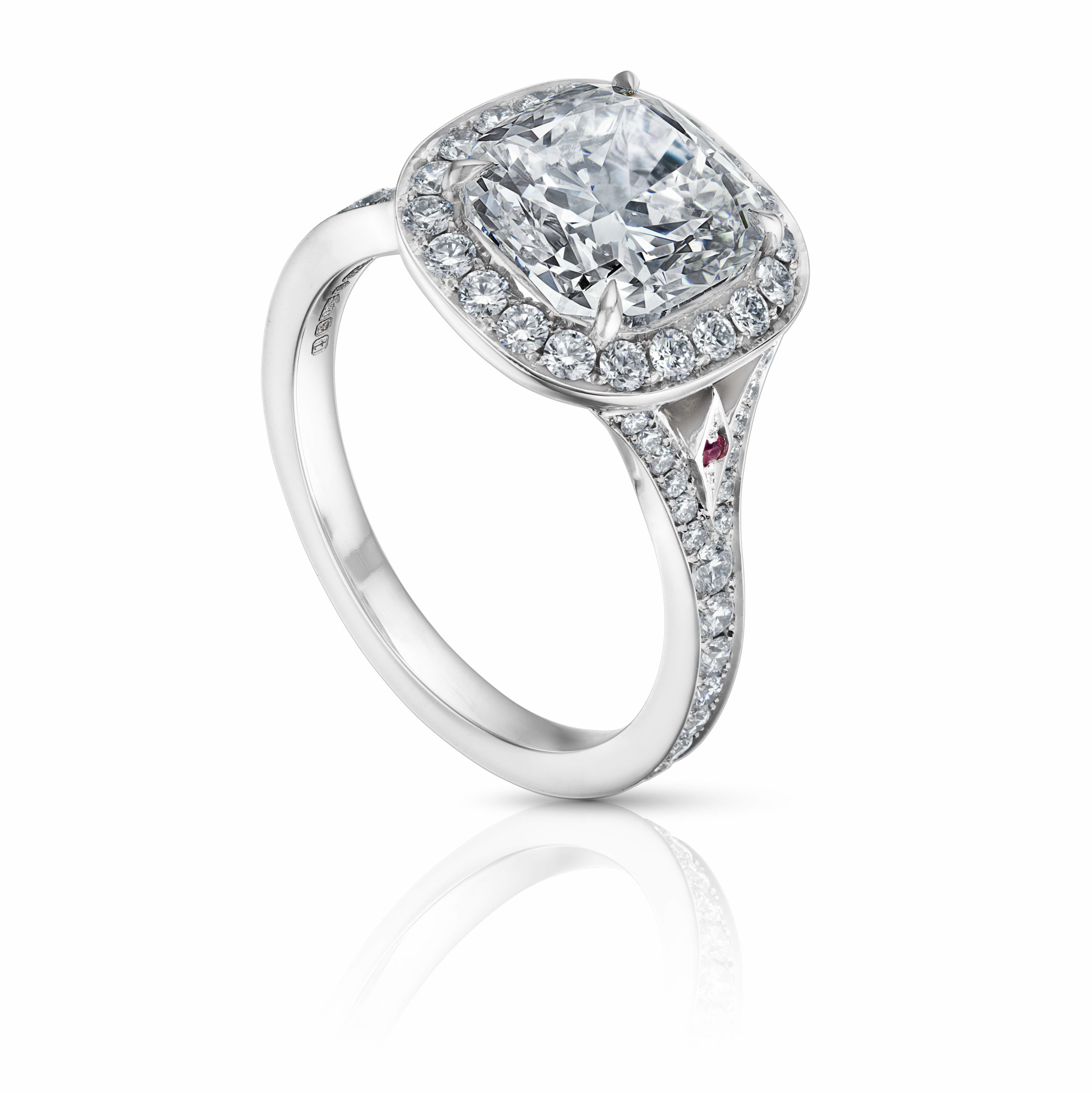 Cushion Cut Diamond Engagement Ring with Rubies and Diamond Halo Setting