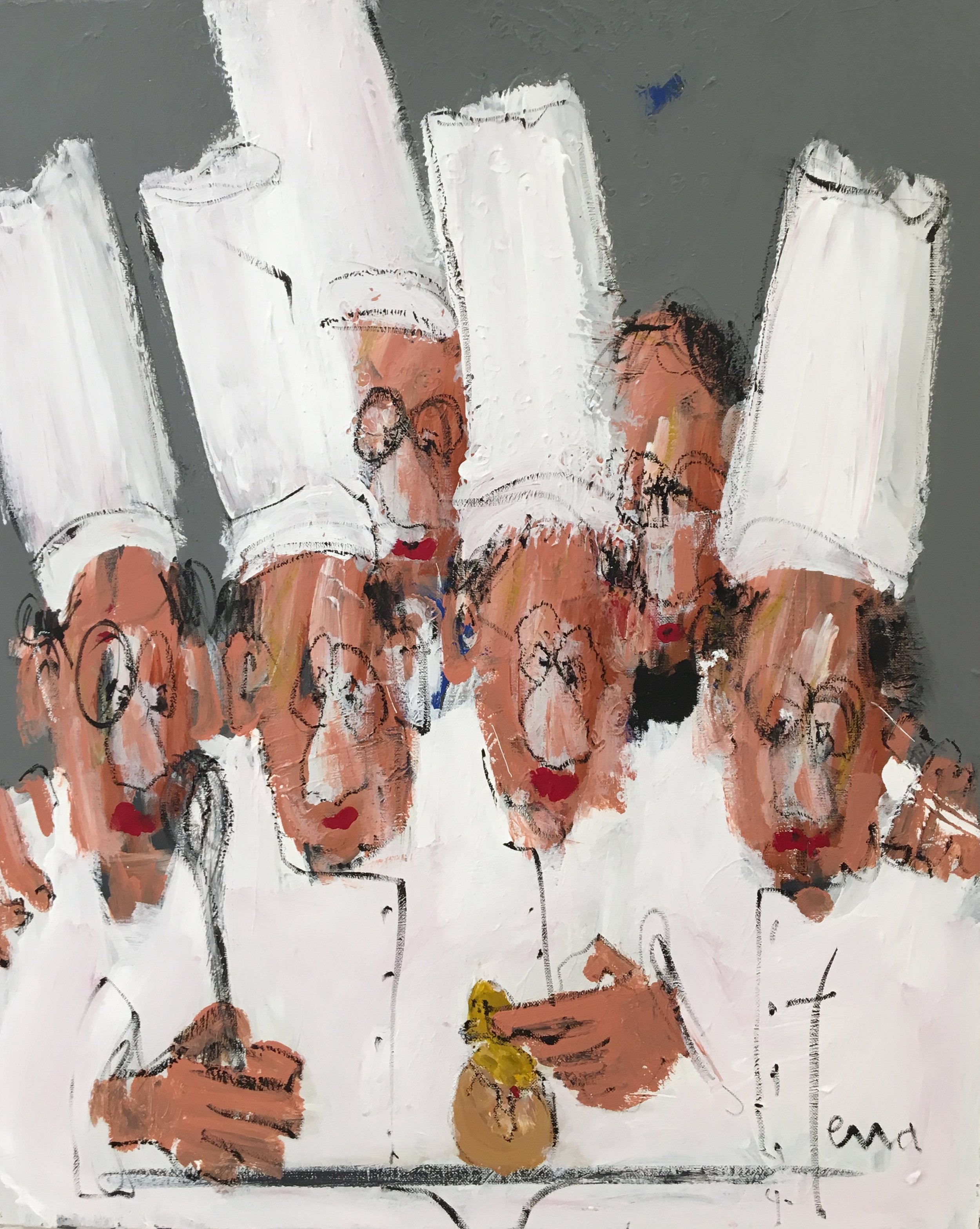 J'aime pas les oeufs Acrylique et pastel huile sur toile 81 x 65 cm