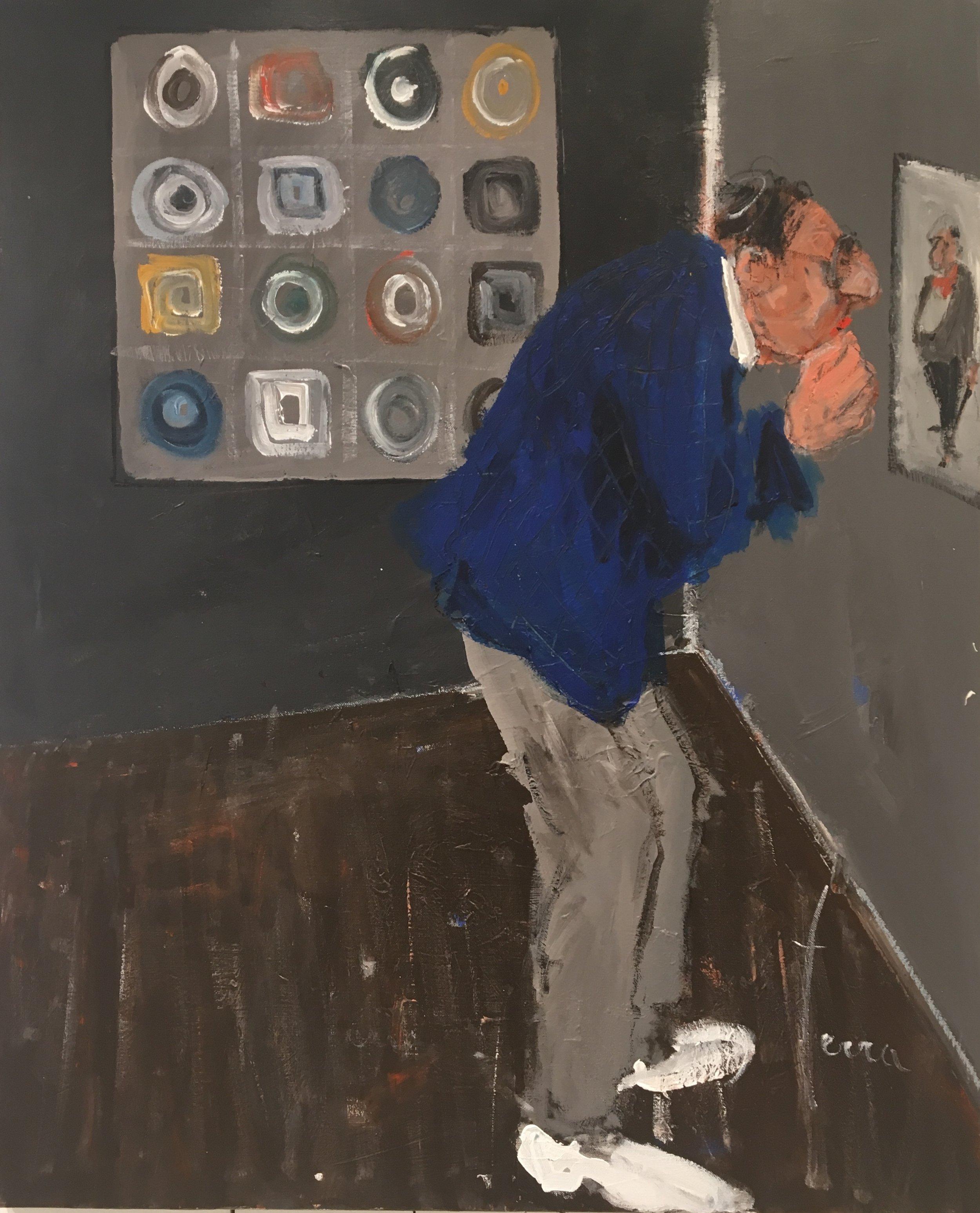 """""""Je préfère la peinture figurative!"""" - 100 x 81 cm - Acrylique et pastel huile sur toile"""