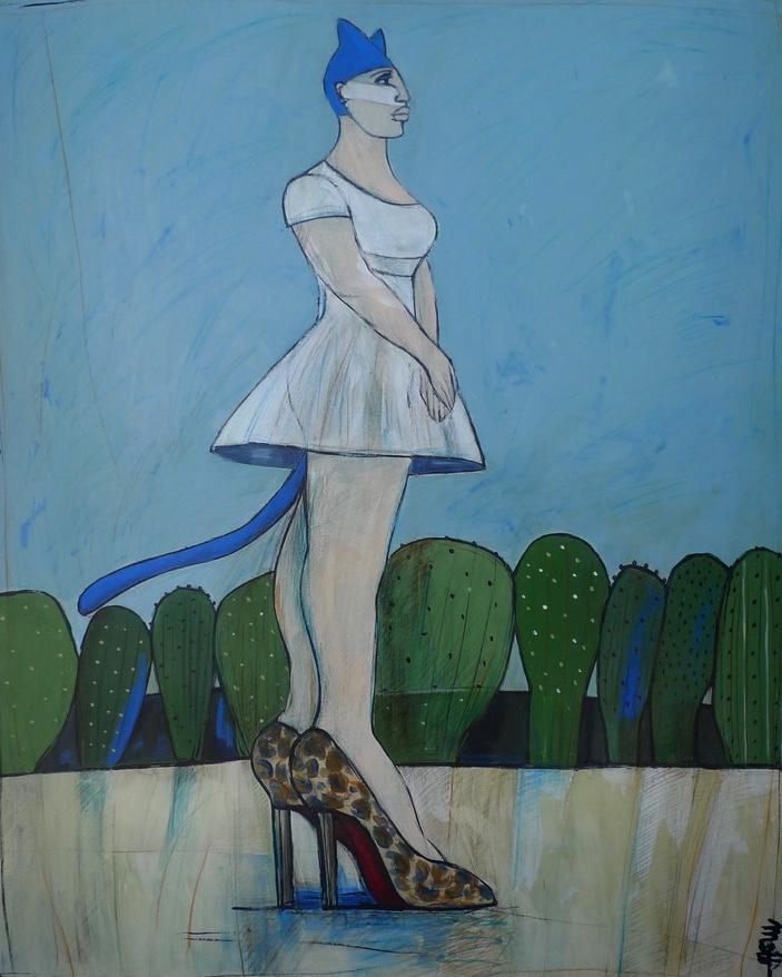 Femme chatte aux Louboutin