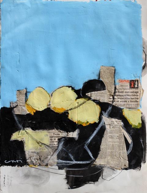 Pichet, citrons sur fond bleu - 61 x 50 cm