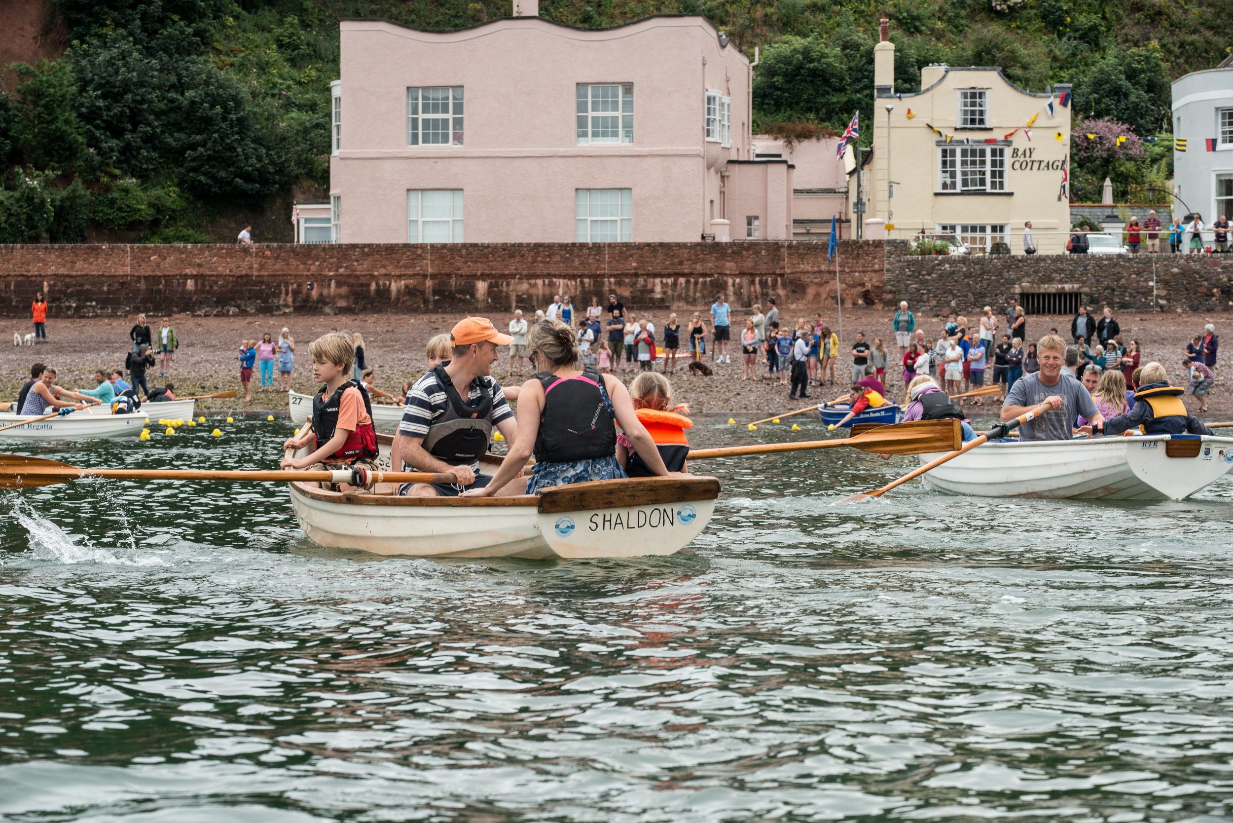 The great duck race - Yellow plastic ducks are trained up all winter ready for this race. The race starts at Pole Sands and finishes in the harbour mouth. Once the winner has crossed the finish lines regatta boats of children head out to collect the ducks and receive 5p per duck collected.