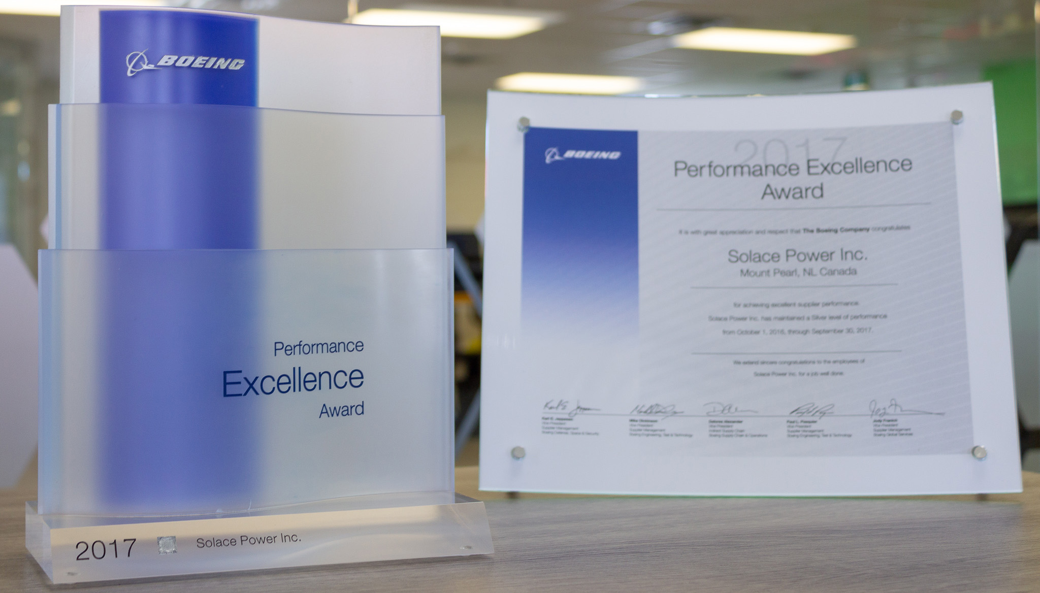 2017 Boeing Silver Supplier Performance Excellence Award. 1 of 329 winners selected from 13,000 suppliers.