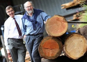 Will Bullough with Woodland Heritage's Guy Corbett-Marshall