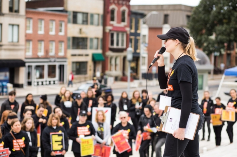 Jordan speaking at the 2018 A21 Walk for Freedom in Harrisburg, PA