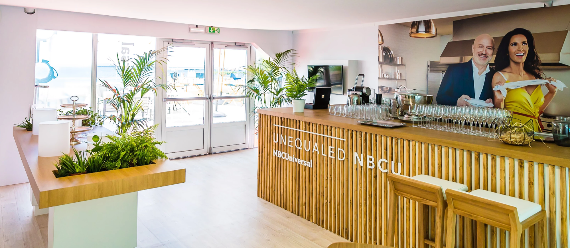 Bar and high bench for the NBC stand at Cannes Lions 2017