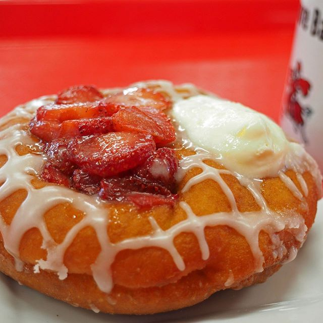 Strawberry season sure was short for us this year! Stop by tomorrow for the last day of our Strawberry Duo. • • #duo #strawberry #michigan #puremichigan #michiganmade #donuts #coffee #bakery #pastry #stevensville #cafe