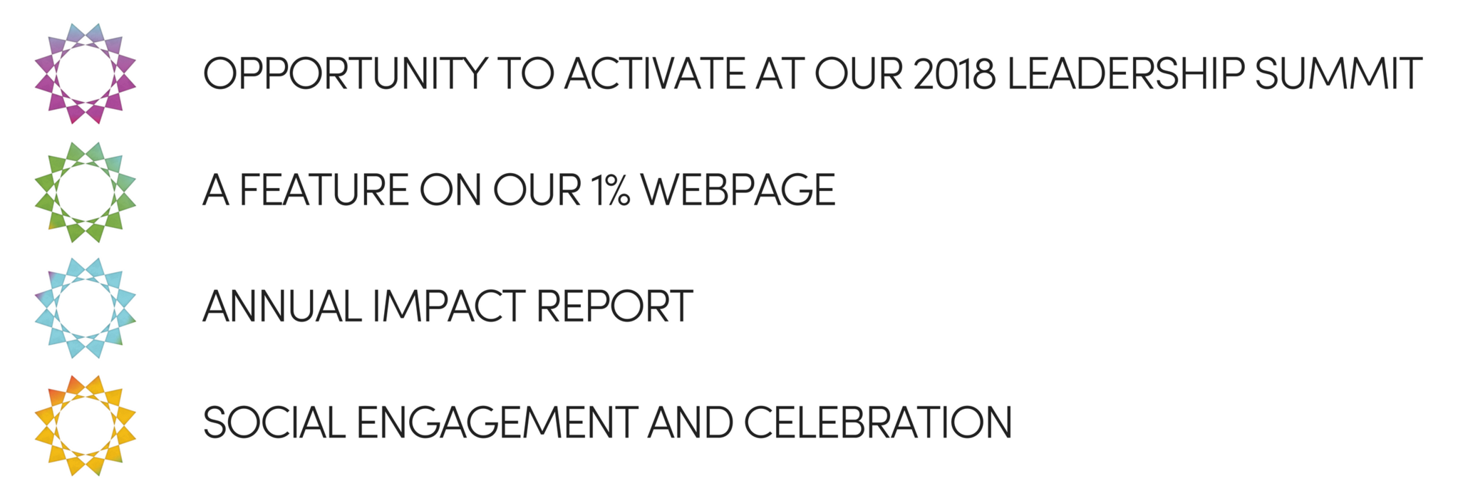 FEATURE ON OUR 1% WEBPAGEOPPORTUNTITY TO ACTIVATE AT OUR 2018 LEADERSHIP SUMMITANNUAL IMPACT REPORTSOCIAL ENGAGEMENT AND CELEBRATION (2).png