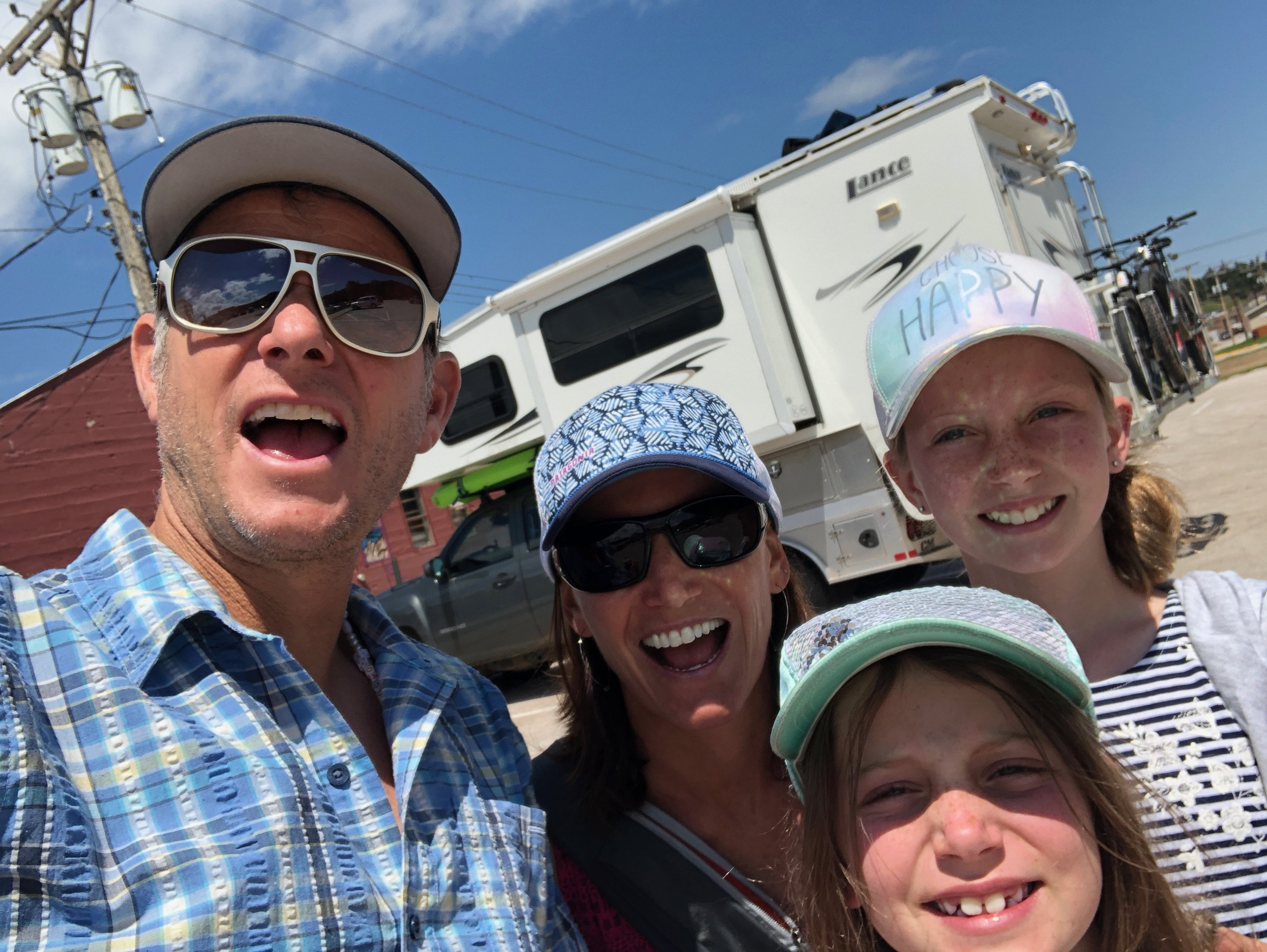 This is us in Custer, SD (after we got the girls out of their pajamas) getting ready to celebrate our family accomplishment and the 4th of July!!