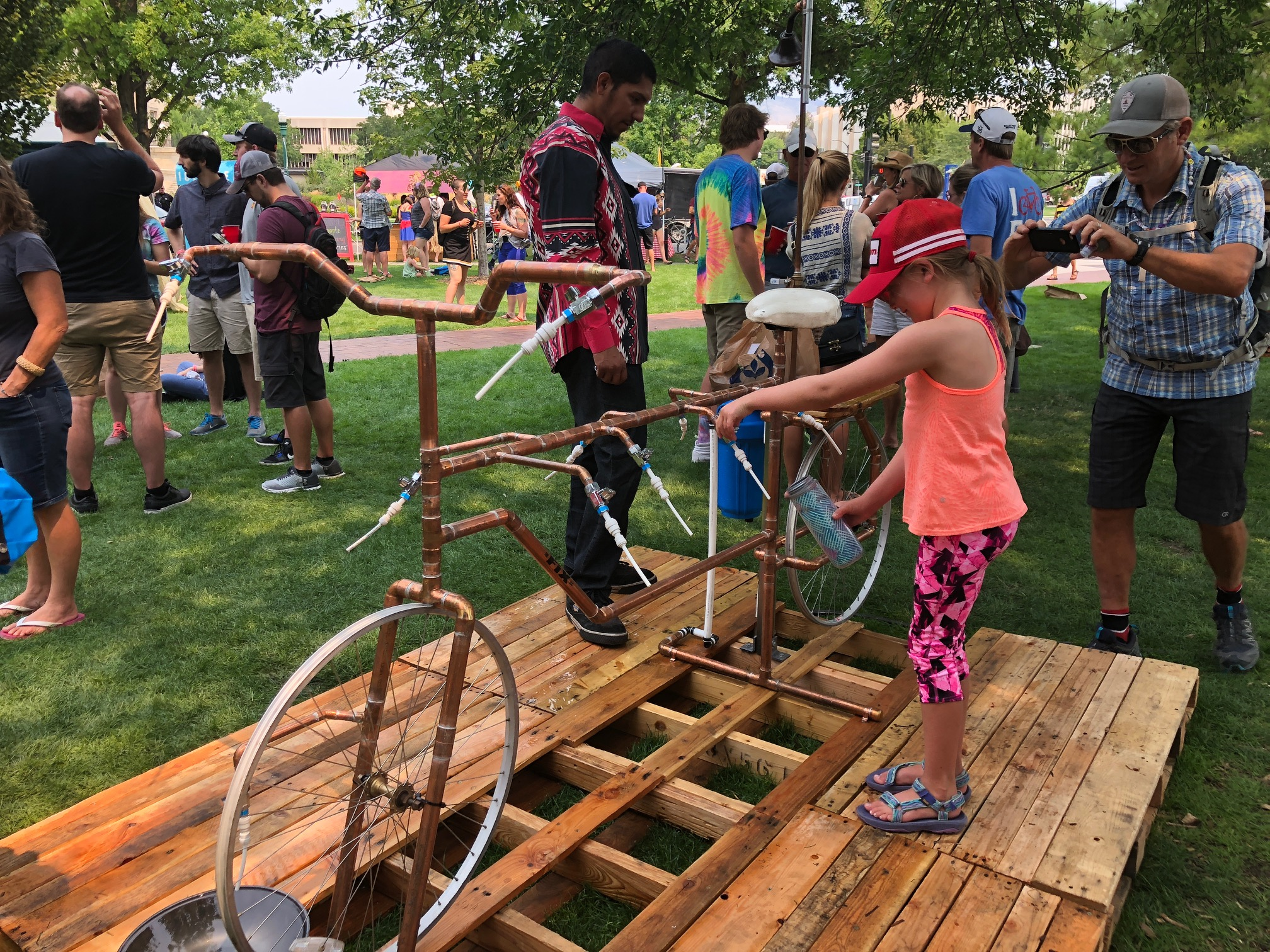 "Getting water at the Boise Goat Head Fest - a celebration of all things ""BIKE"""