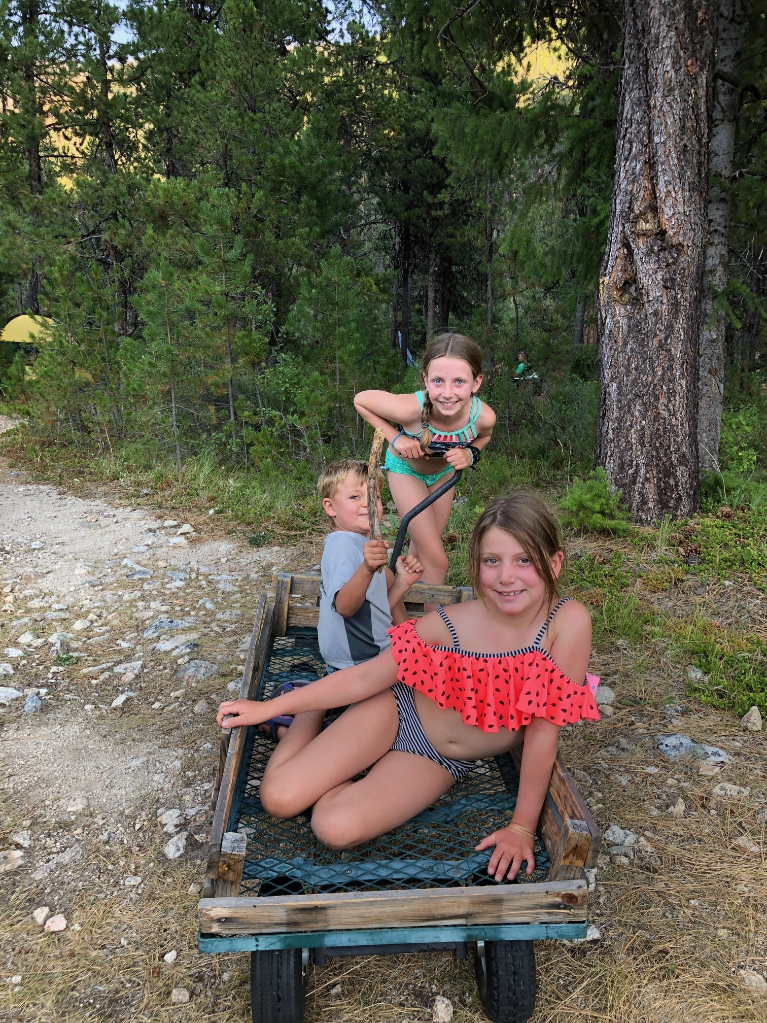 Ellie, Endler and Isla playing on one of the courtesy wagons you can use to haul your gear from your plane to your campsite