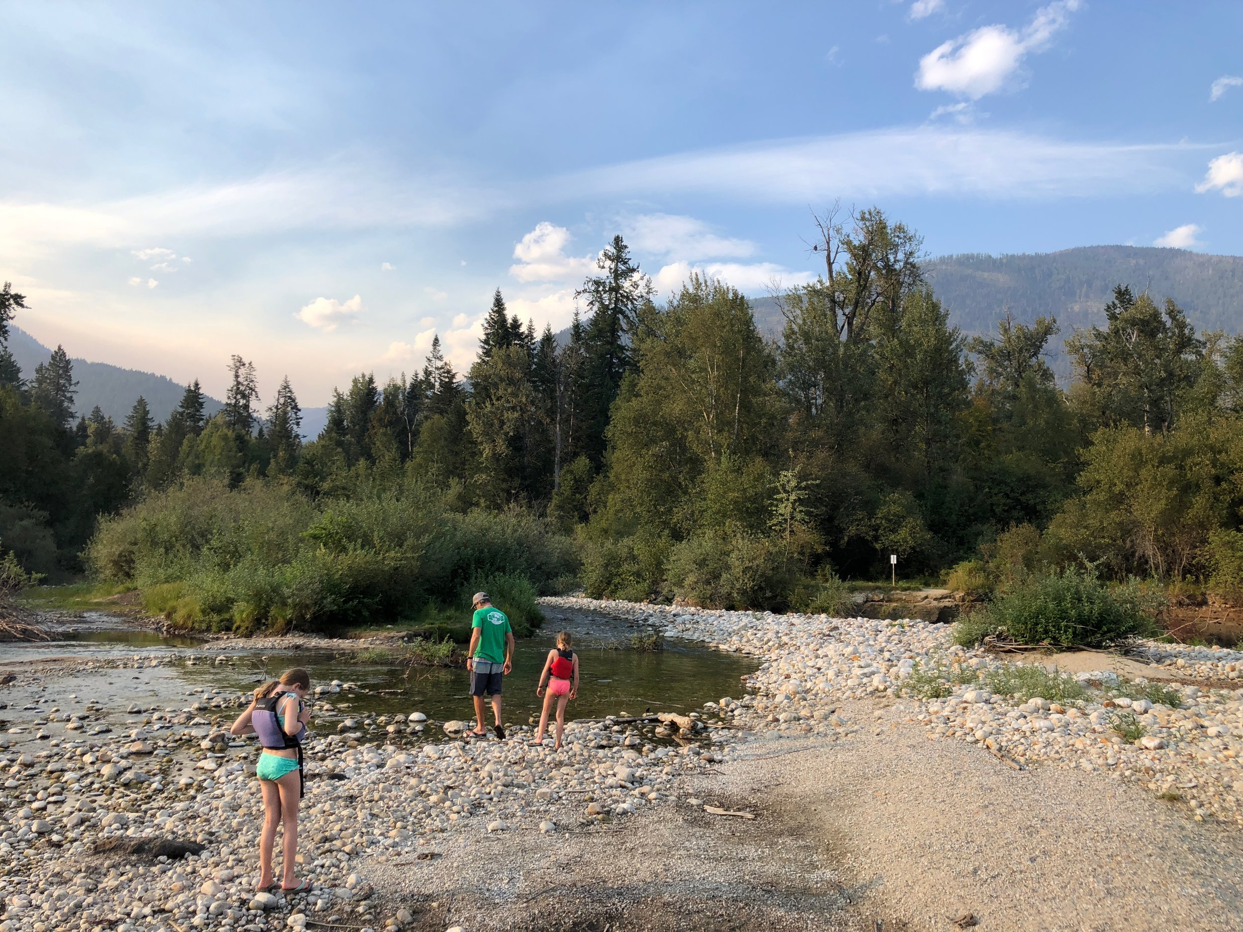 Checking out Kokanee Creek on our paddleboards