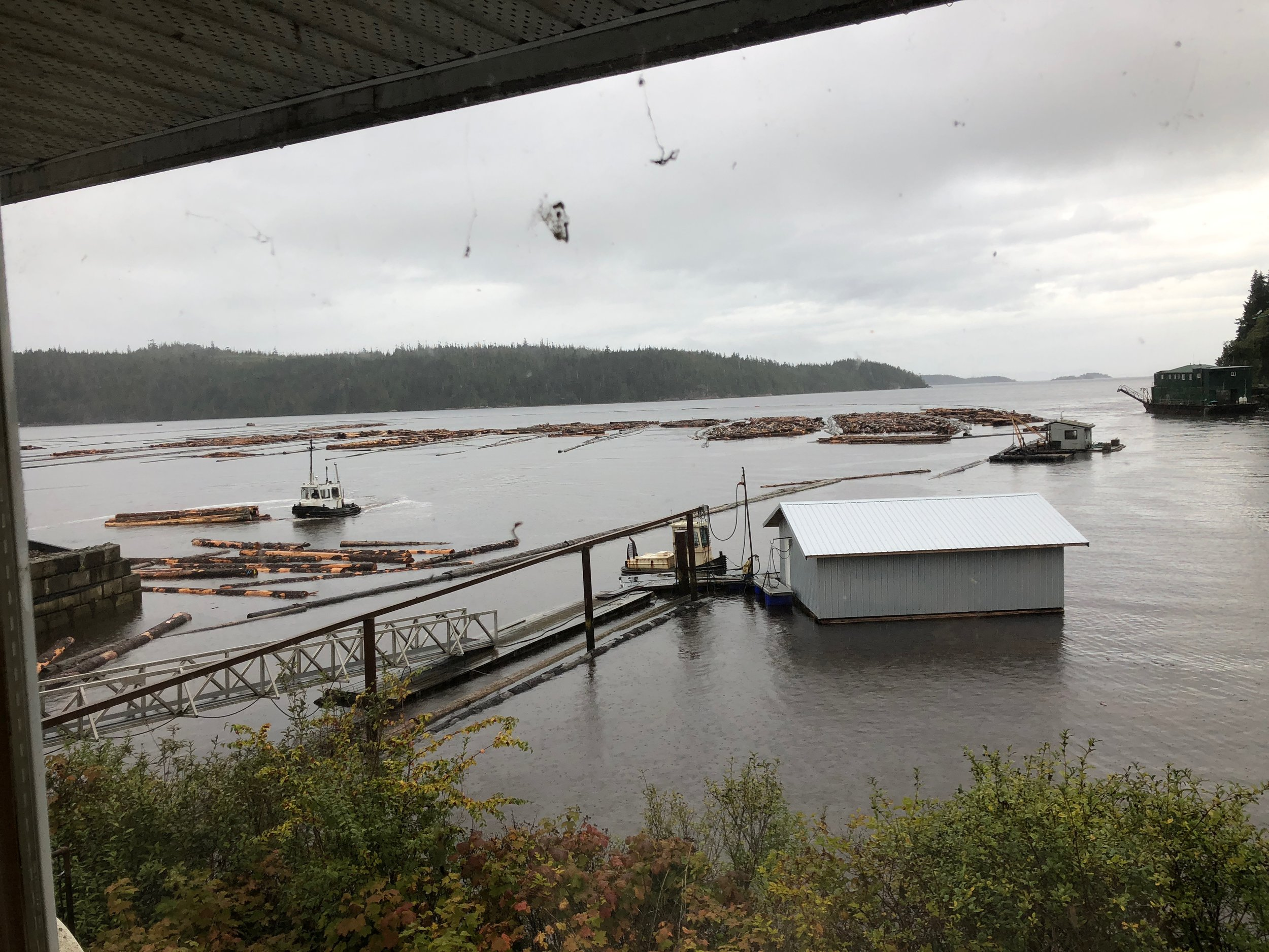 """The tugboat then pushes and places the logs into the holding sections for """"pick up"""". But the logs actually don't get picked up, but dragged through the water to their final destination"""