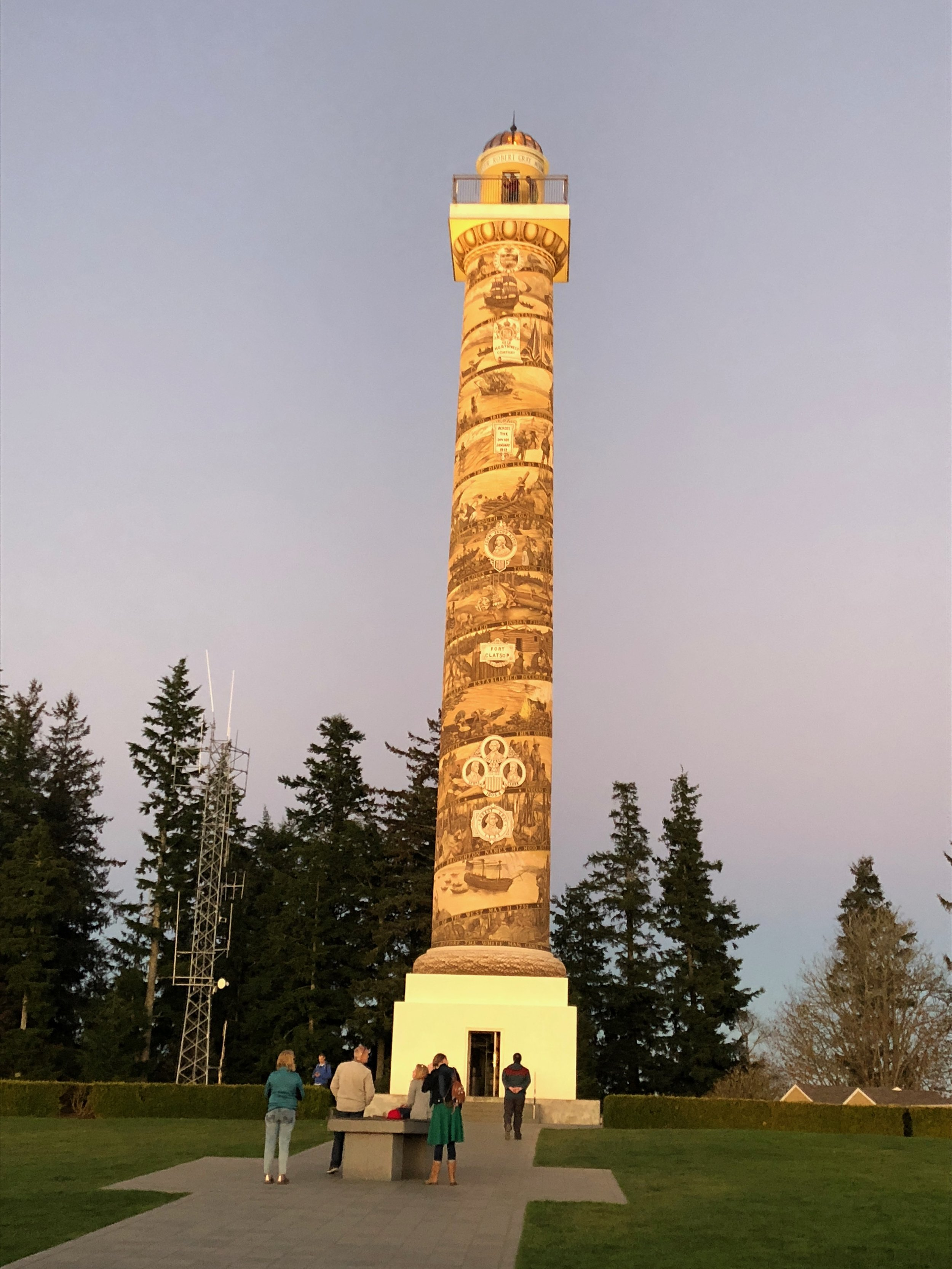 The Astoria Column lit up by the light of the sunset