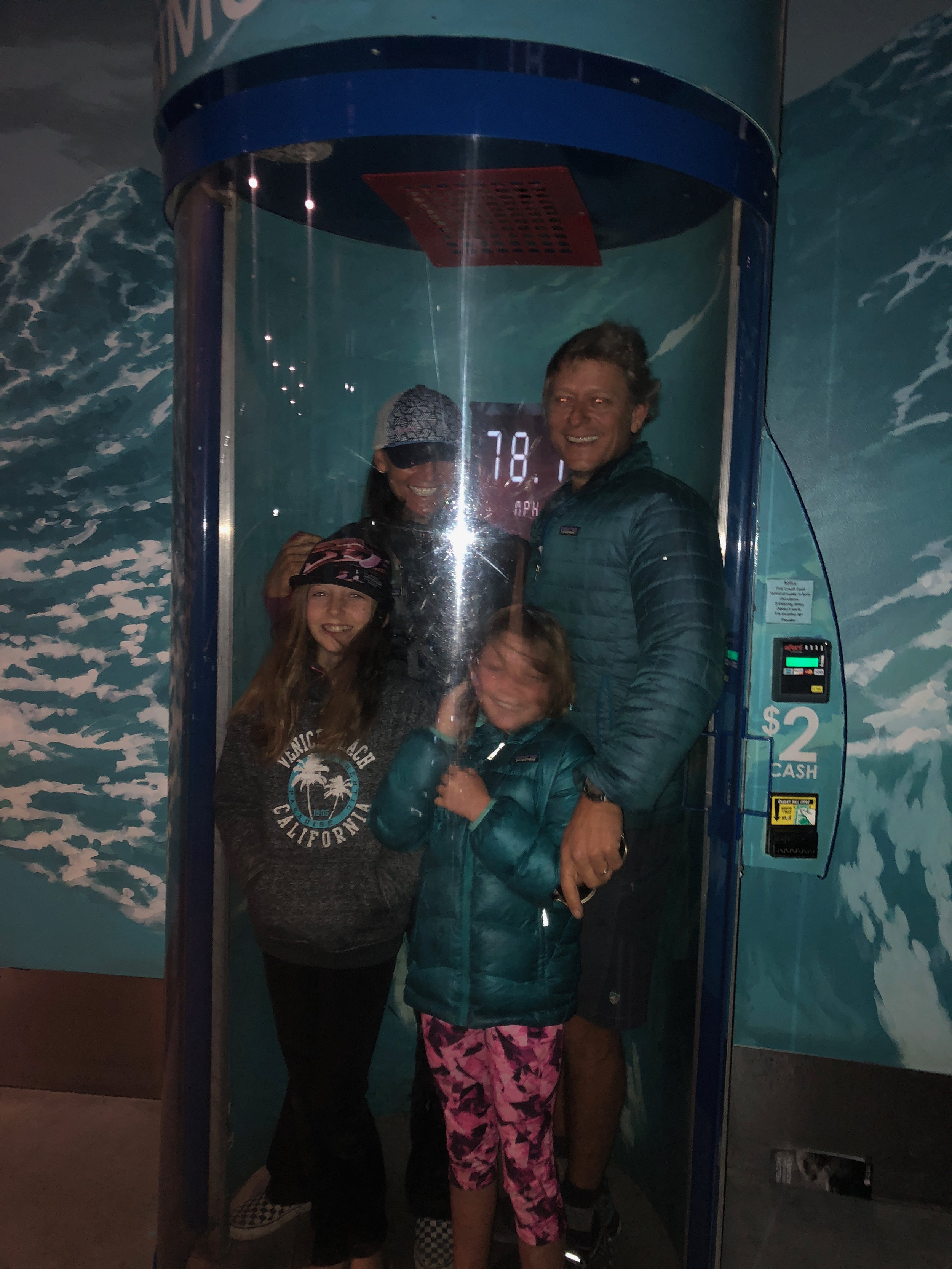 The Shaw family in the hurricane simulator!