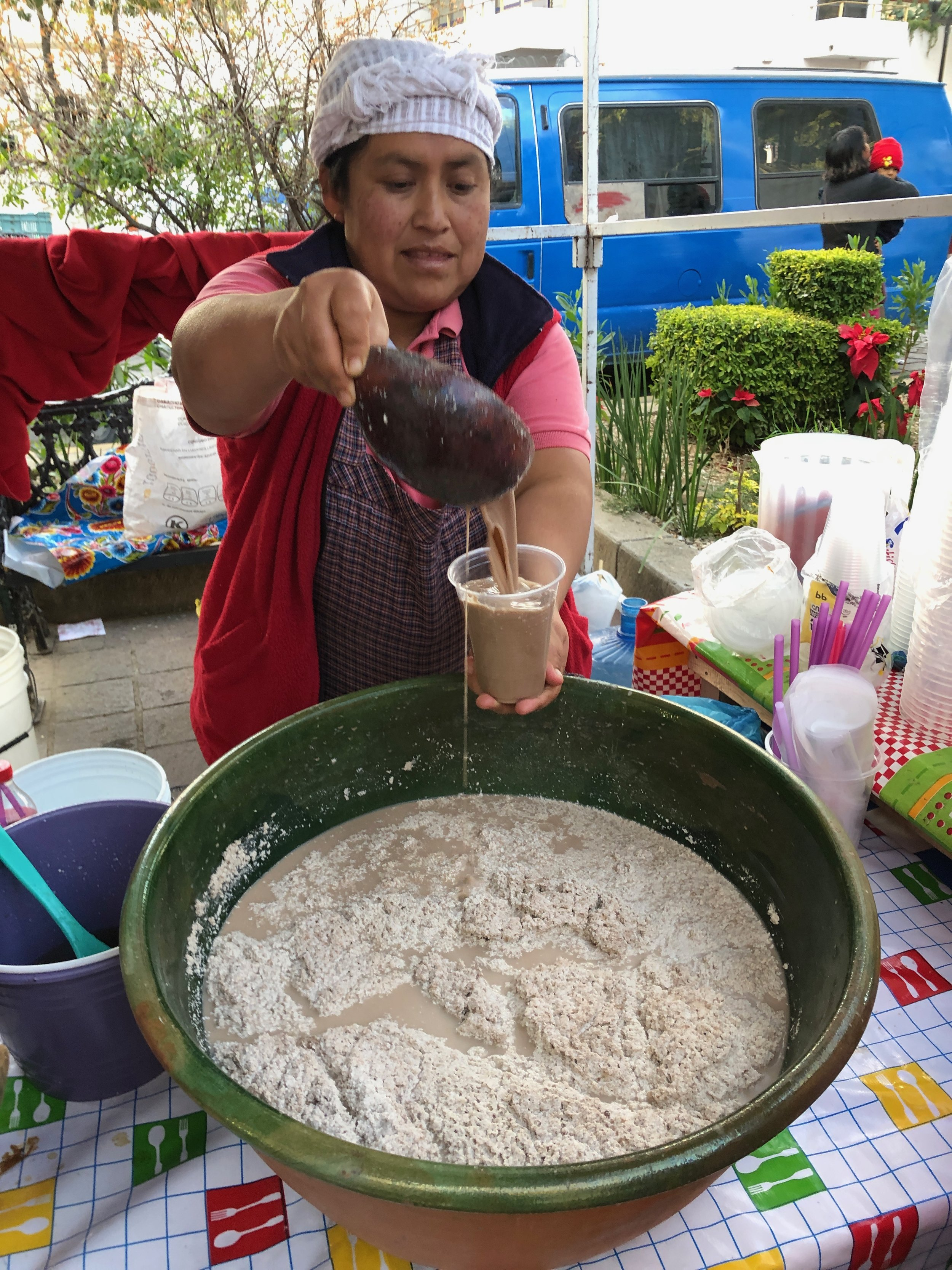 """Getting some """"tejate"""" - at first we were a little intimidated to try it, but its delicious!"""