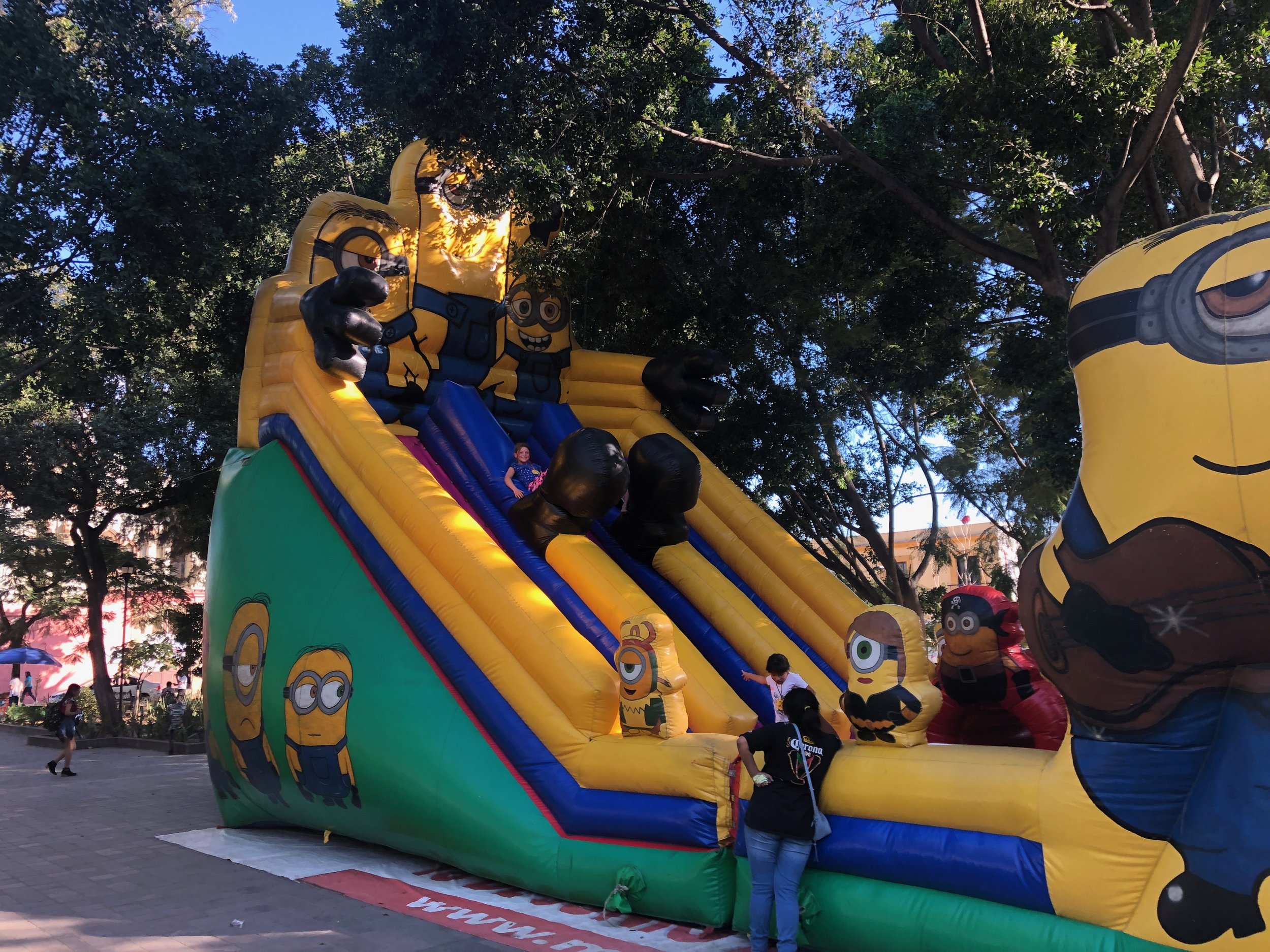"""This bouncy blow up """"thing"""" is always up and running at Llano Park in the Centro. The girls love it and play on it a couple times a week."""