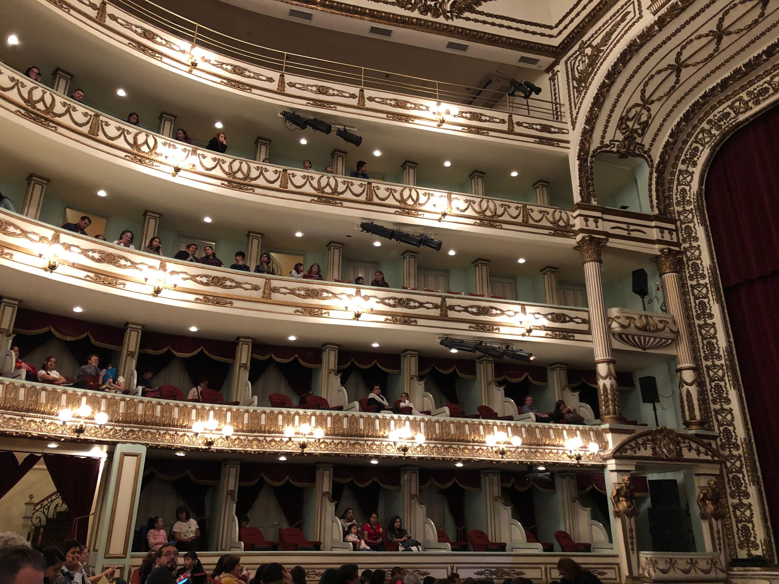 Inside the theatre where we saw the ballet. The theatre is over 110 years old and is beautiful both inside and out. The girls had never seen a theatre like it before.