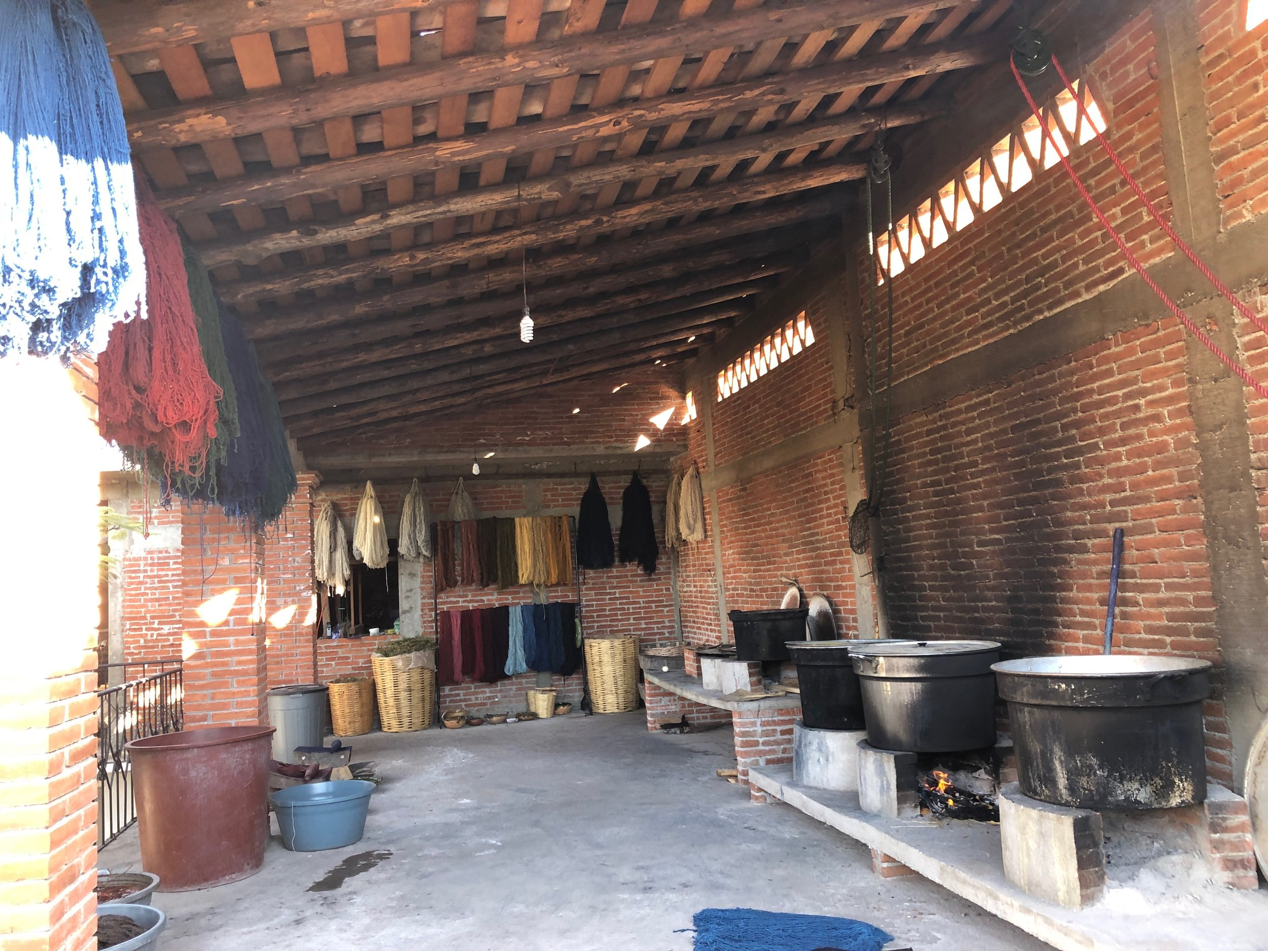 The area where the yarn is dyed and dried