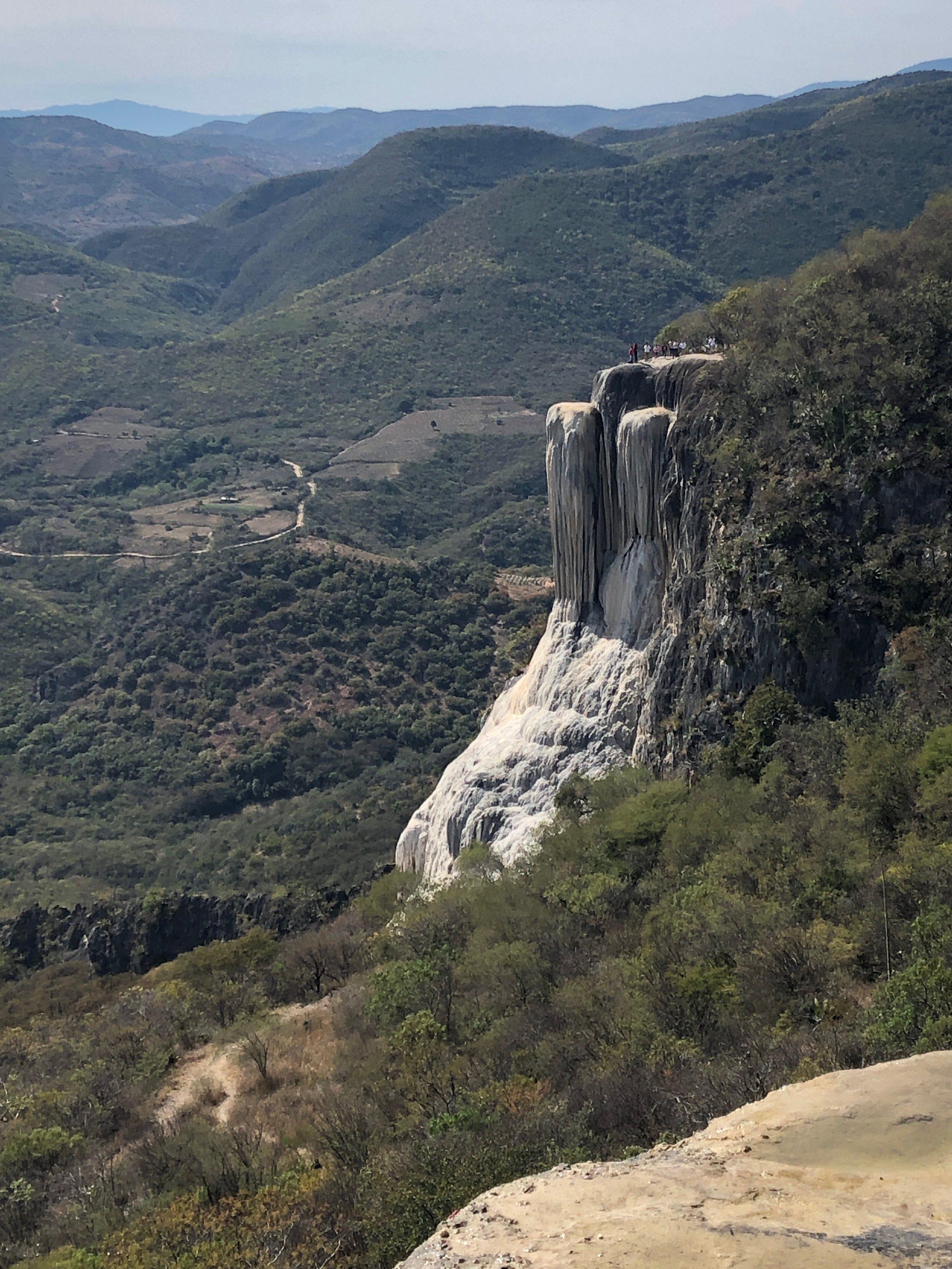 """The """"waterfall"""" at Hierve el Agua. It's not water, but mineral deposits from water that is over saturated with calcium carbonate and other minerals."""