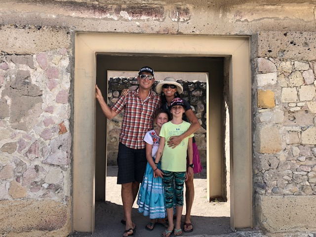 The fam at some ruins in Mitla. Mitla has the second most important archeological site in Oaxaca and the most important for the Zapotec culture