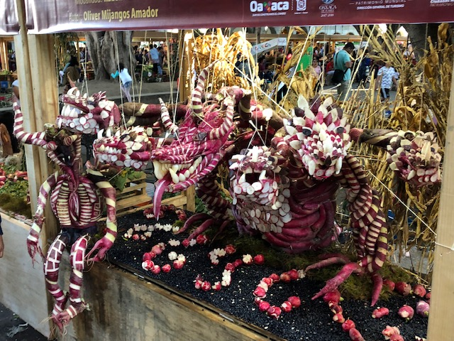 A seven headed dragon at the Radish Festival - this won first place at the Festival