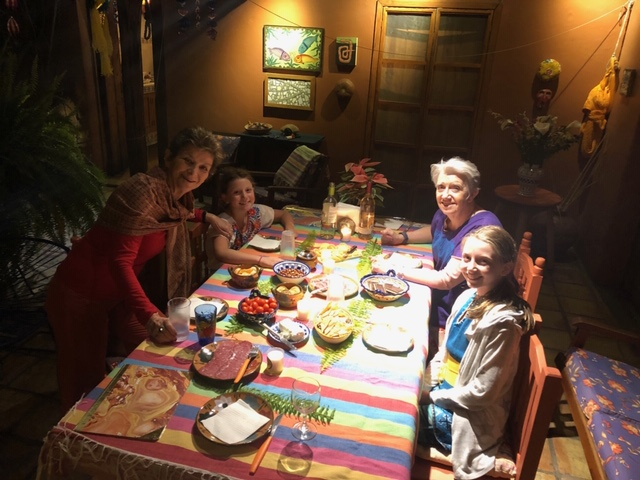 Celebrating the solstice with Sylvia and Carolyn (Sylvia, Isla, Carolyn, and Ellie)