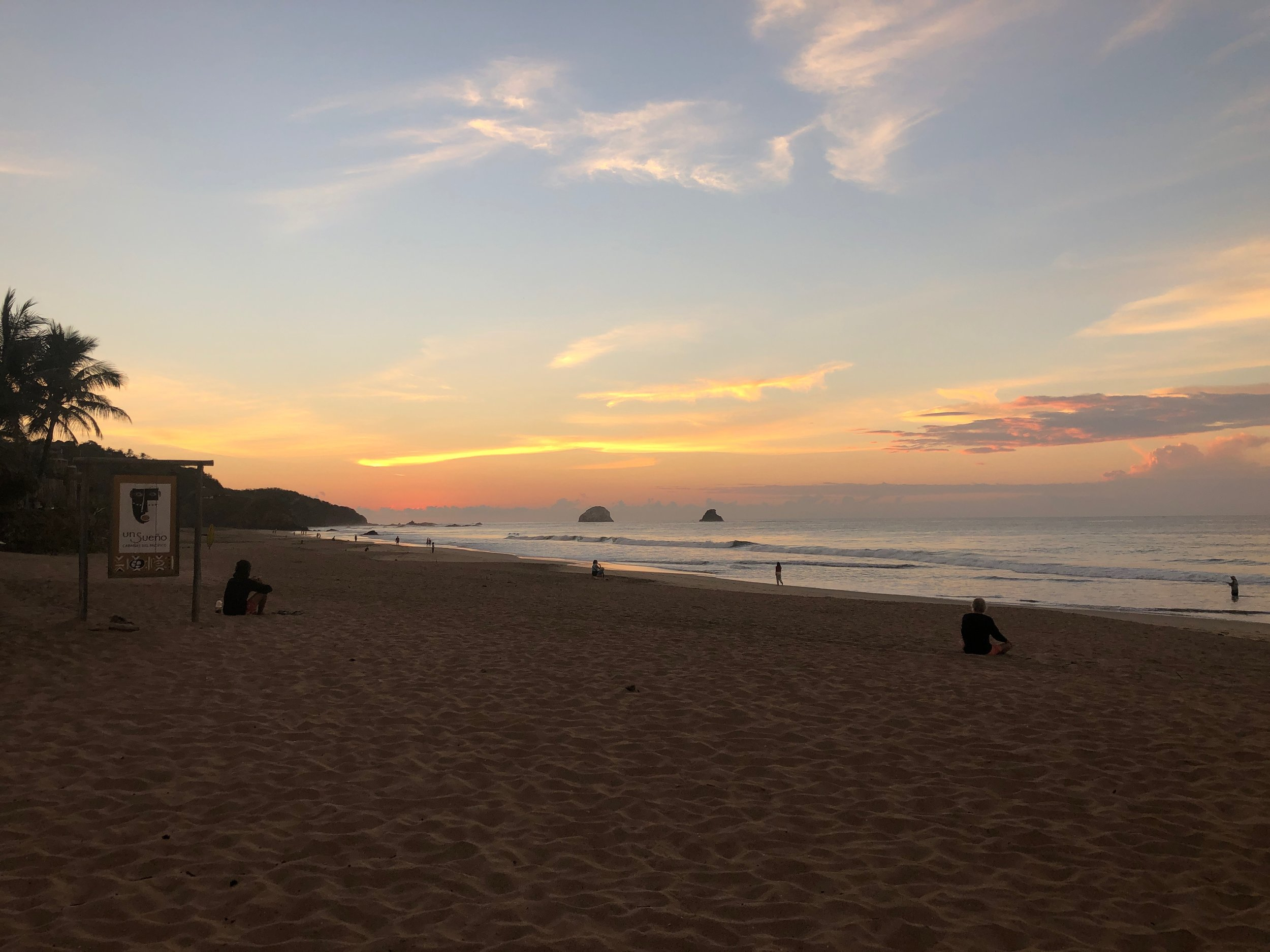 John and I woke up early in San Augustanillo and enjoyed watching the sunrise as we walked together on the beach.