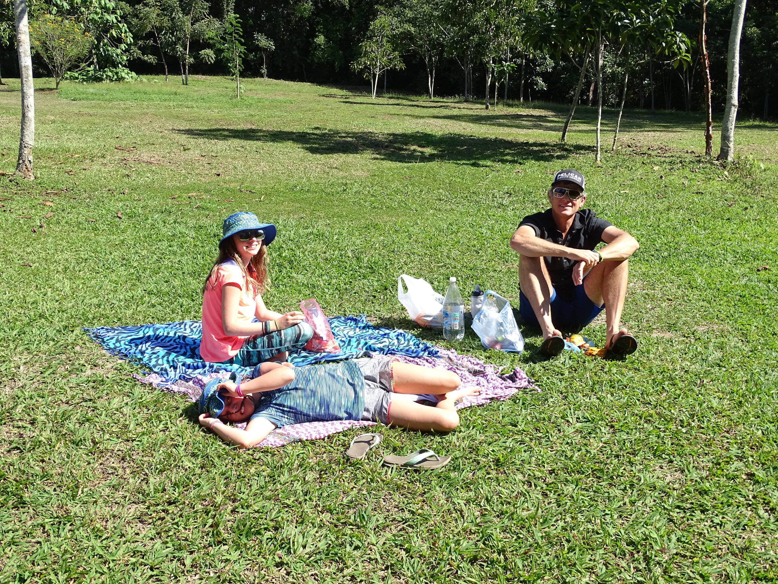 Having a picnic lunch before getting back in the car
