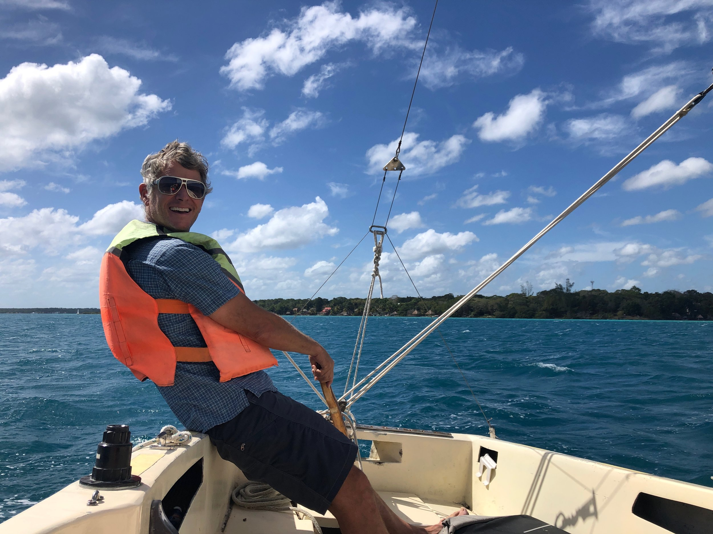 The wind was great for sailing and John got to take the helm for a while