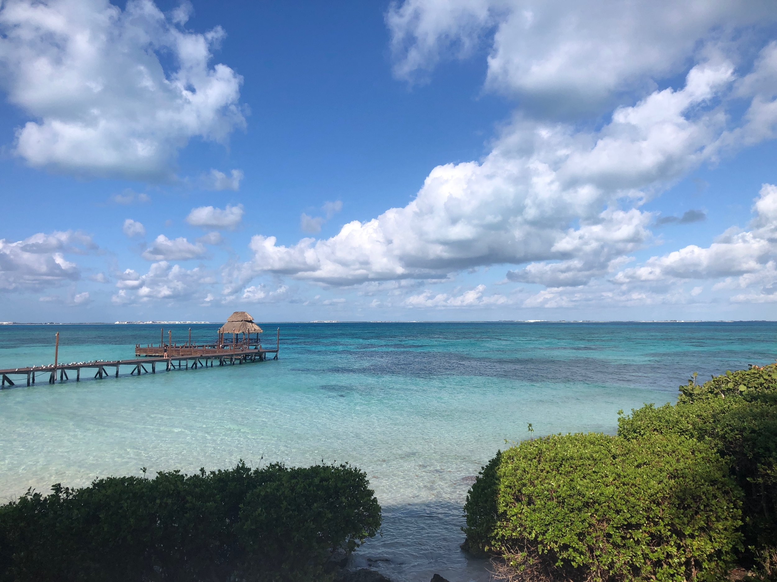 The water that surrounds Isla Mujeres is beautiful! This is a another view from the hotel.