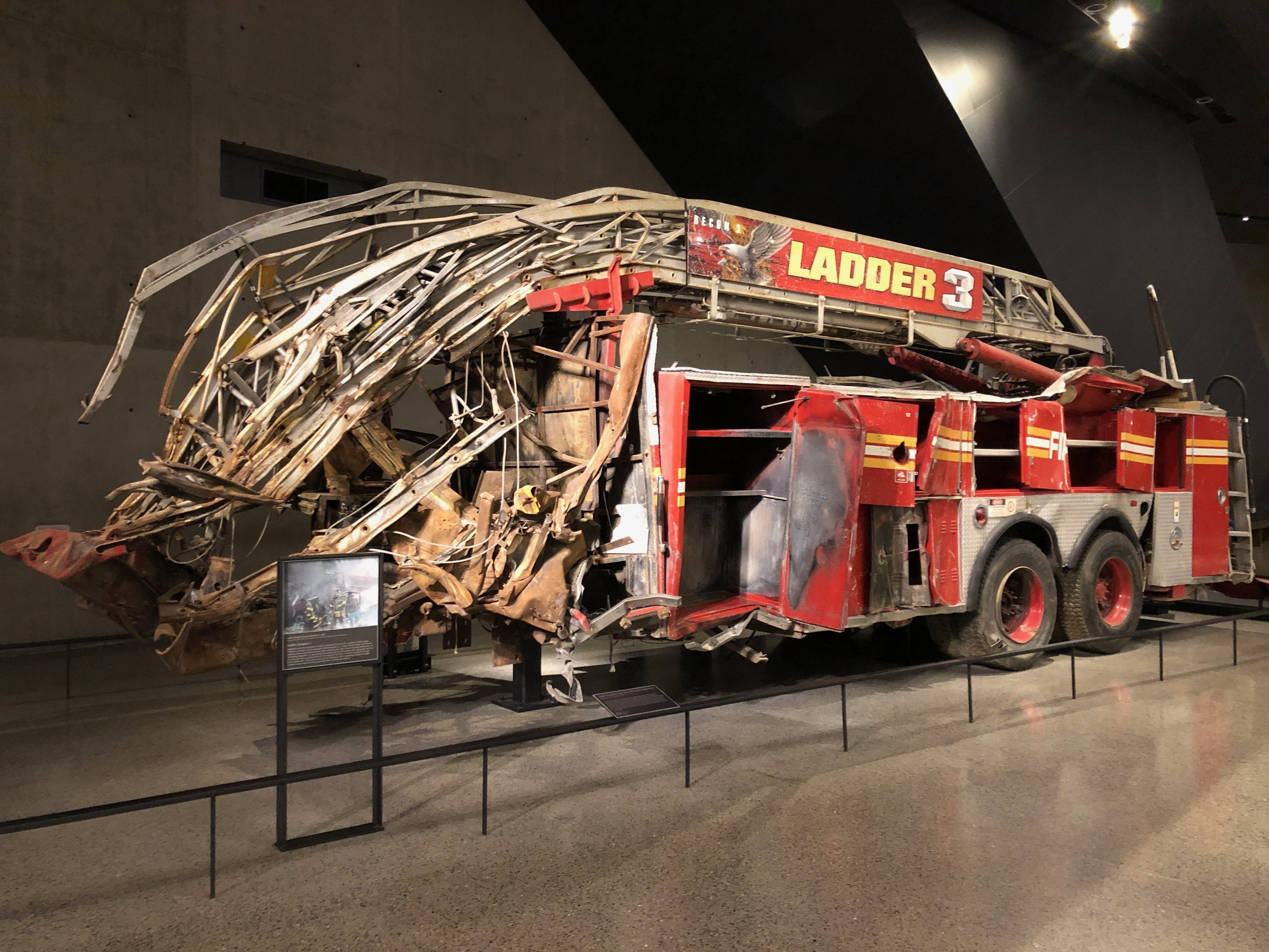 A fire truck at the 911 Memorial